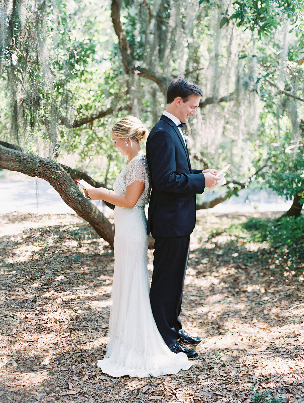 Hilton Head bride & groom's first look at Oldfield Club  //  A Lowcountry Wedding Magazine