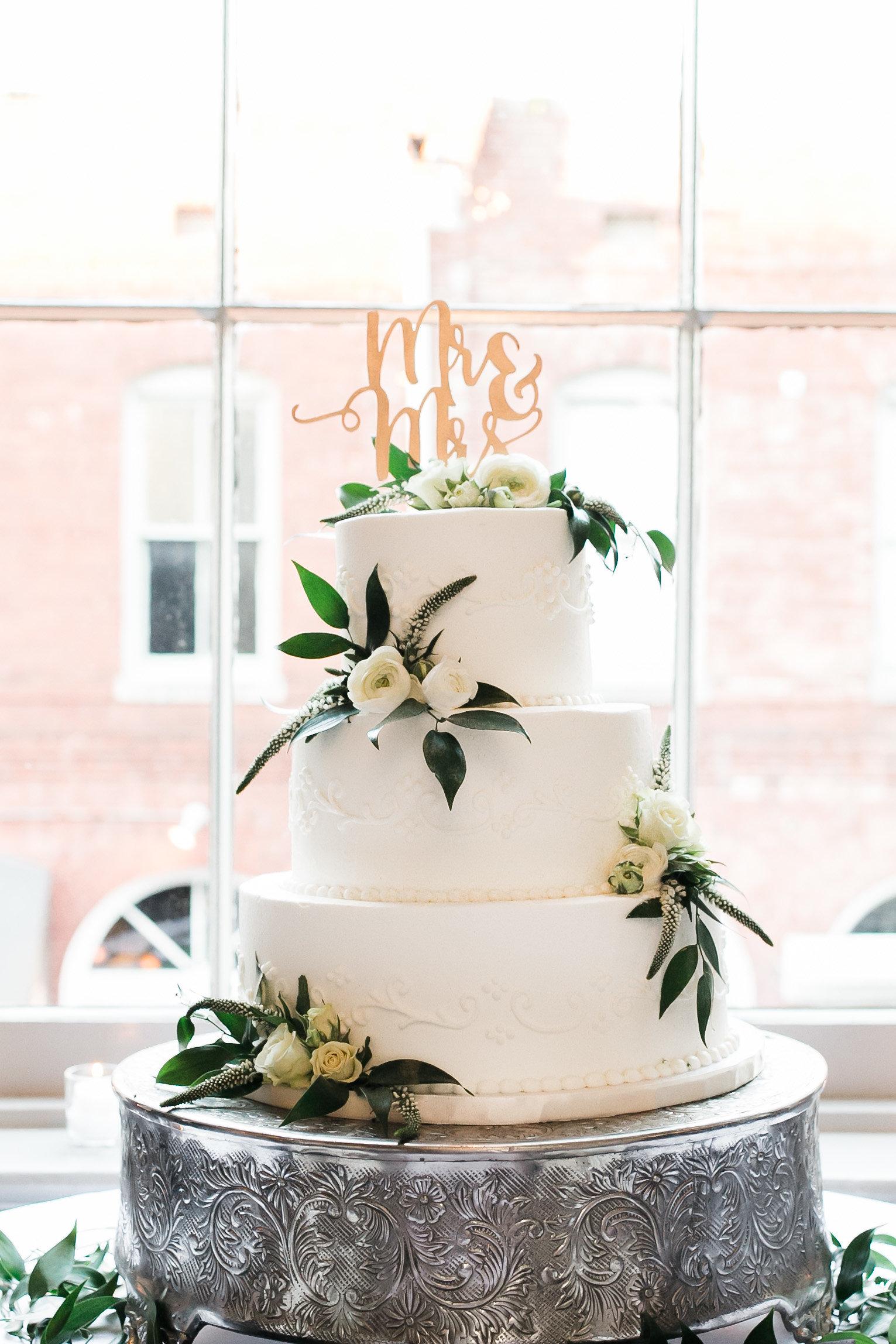 Elegant White wedding cake at Garibaldi Cafe