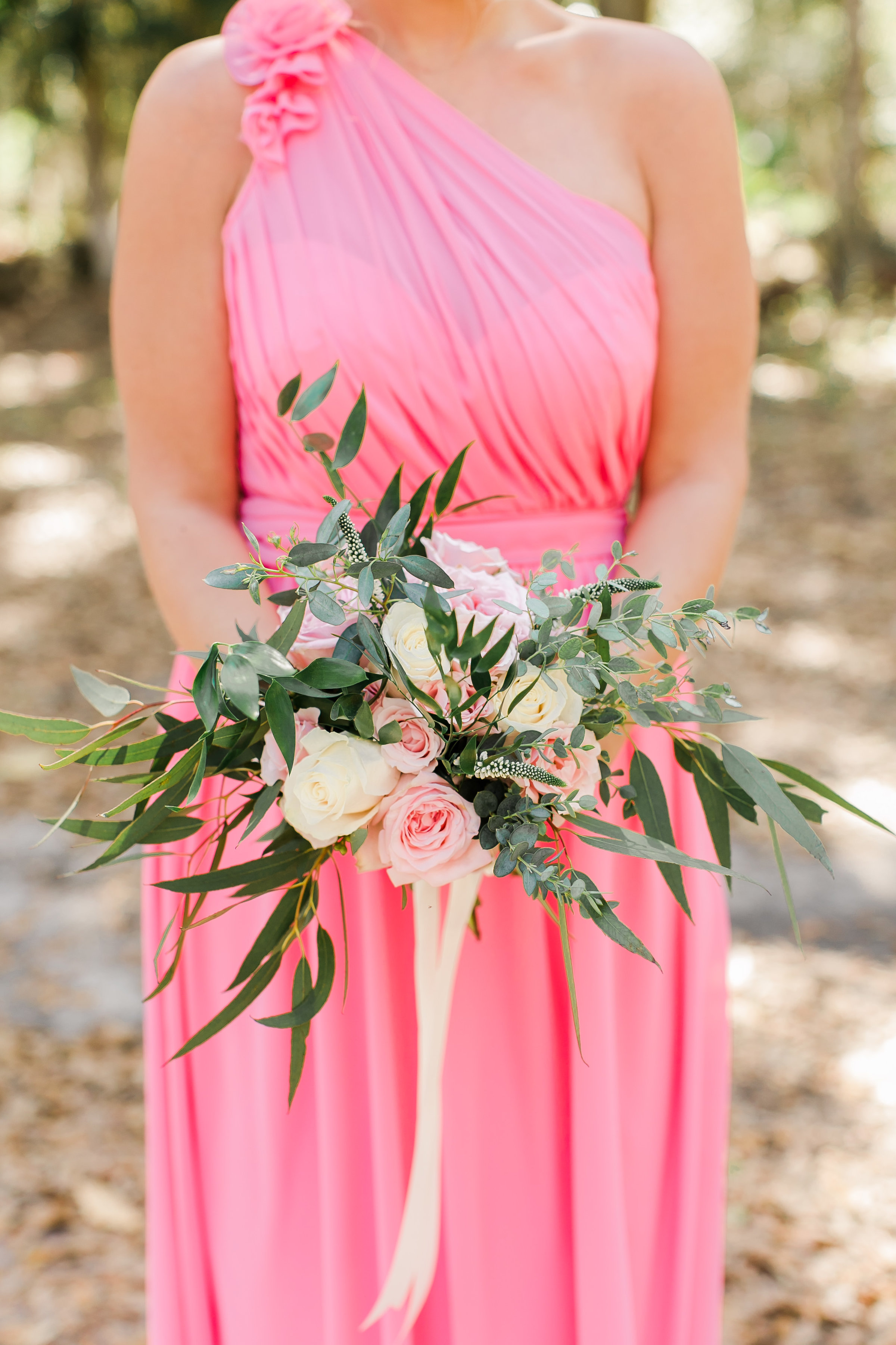 Bridesmaids in pink Bari Jay dresses  //  A Lowcountry Wedding Magazine