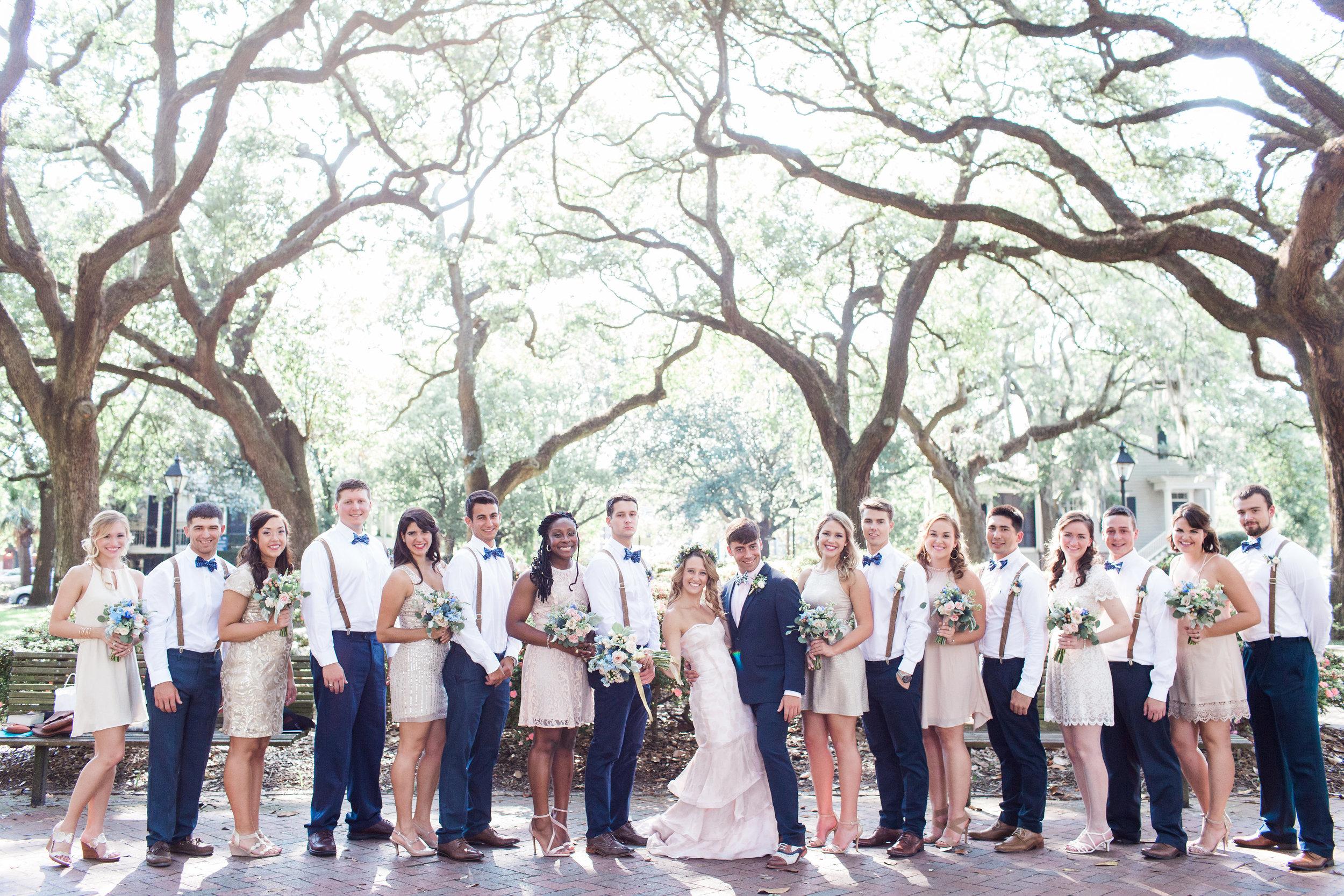 Bridal party in Forsyth Park for Savannah GA wedding  //  A Lowcountry Wedding Magazine