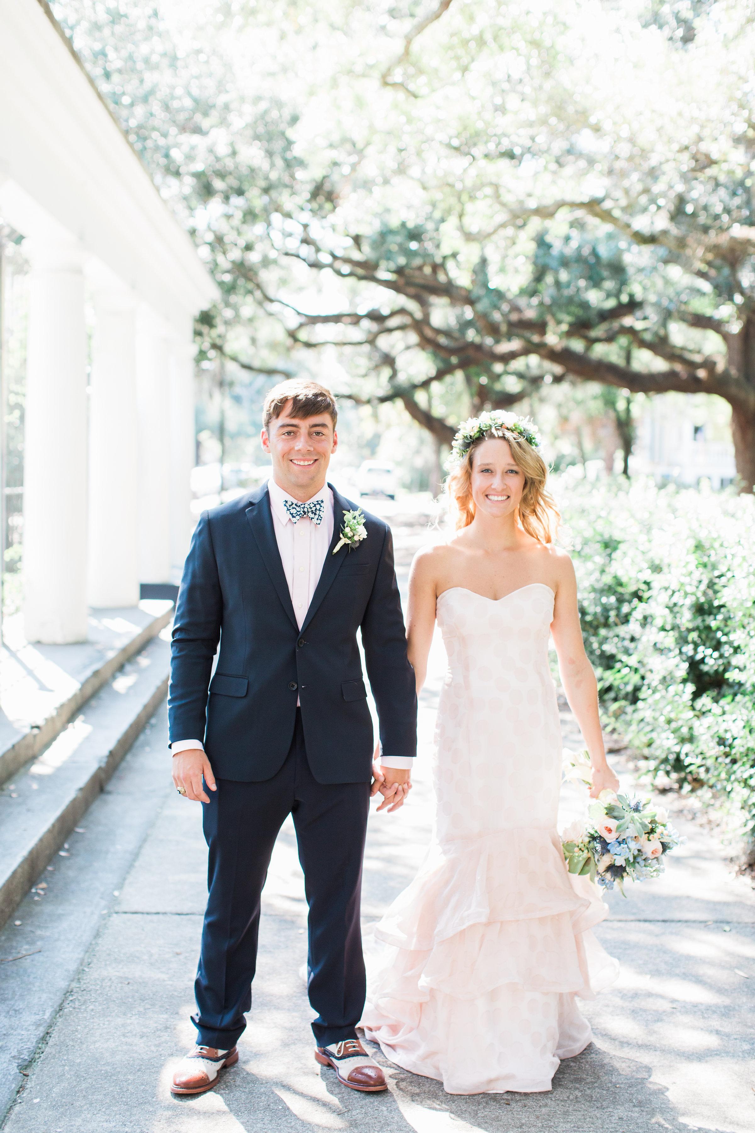 Savannah Bride & Groom's wedding portraits in Forsyth Park  //  A Lowcountry Wedding Magazine
