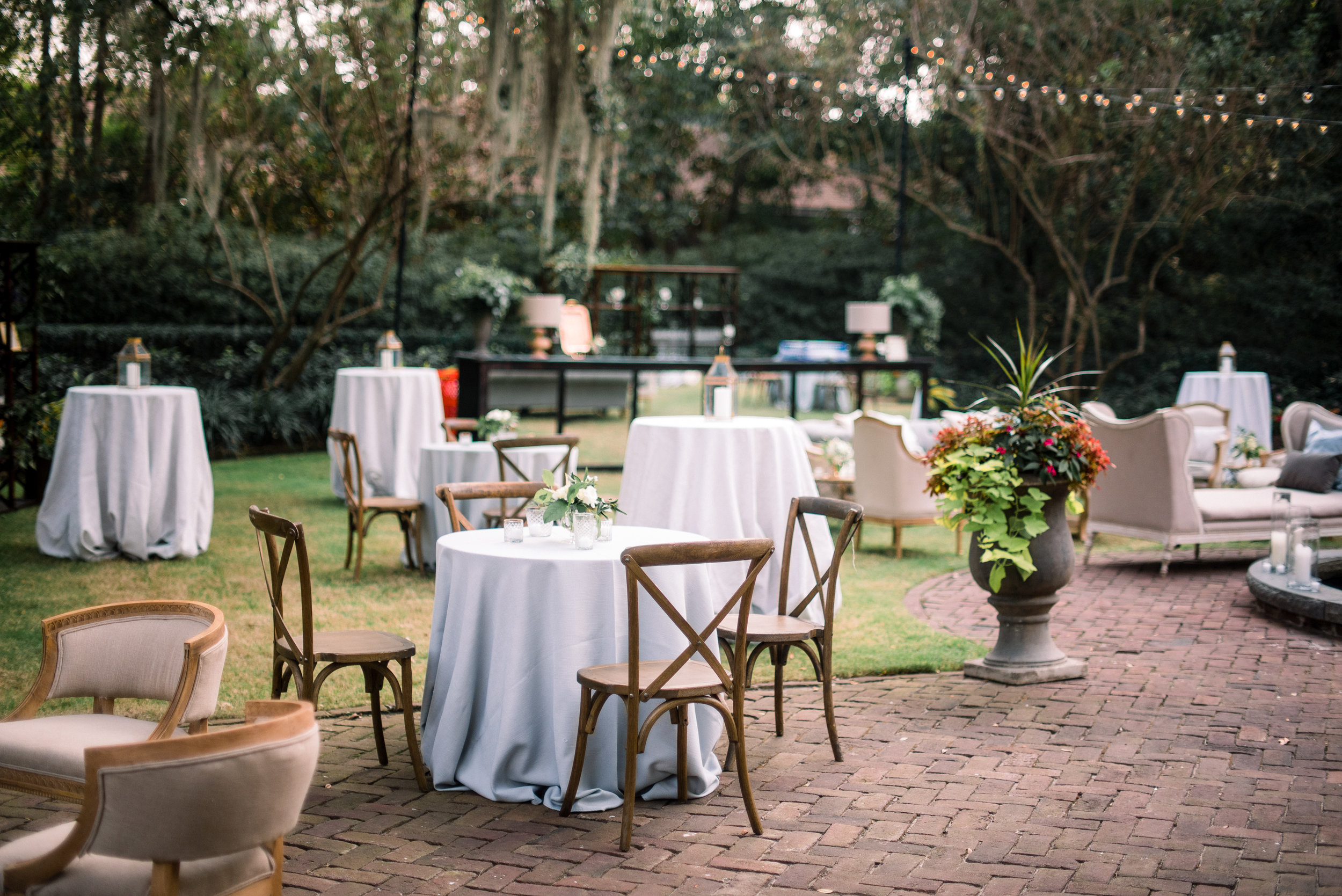 Outdoor wedding reception at The Thomas Bennett House designed by A Charleston Bride  //  A Lowcountry Wedding Magazine & Blog