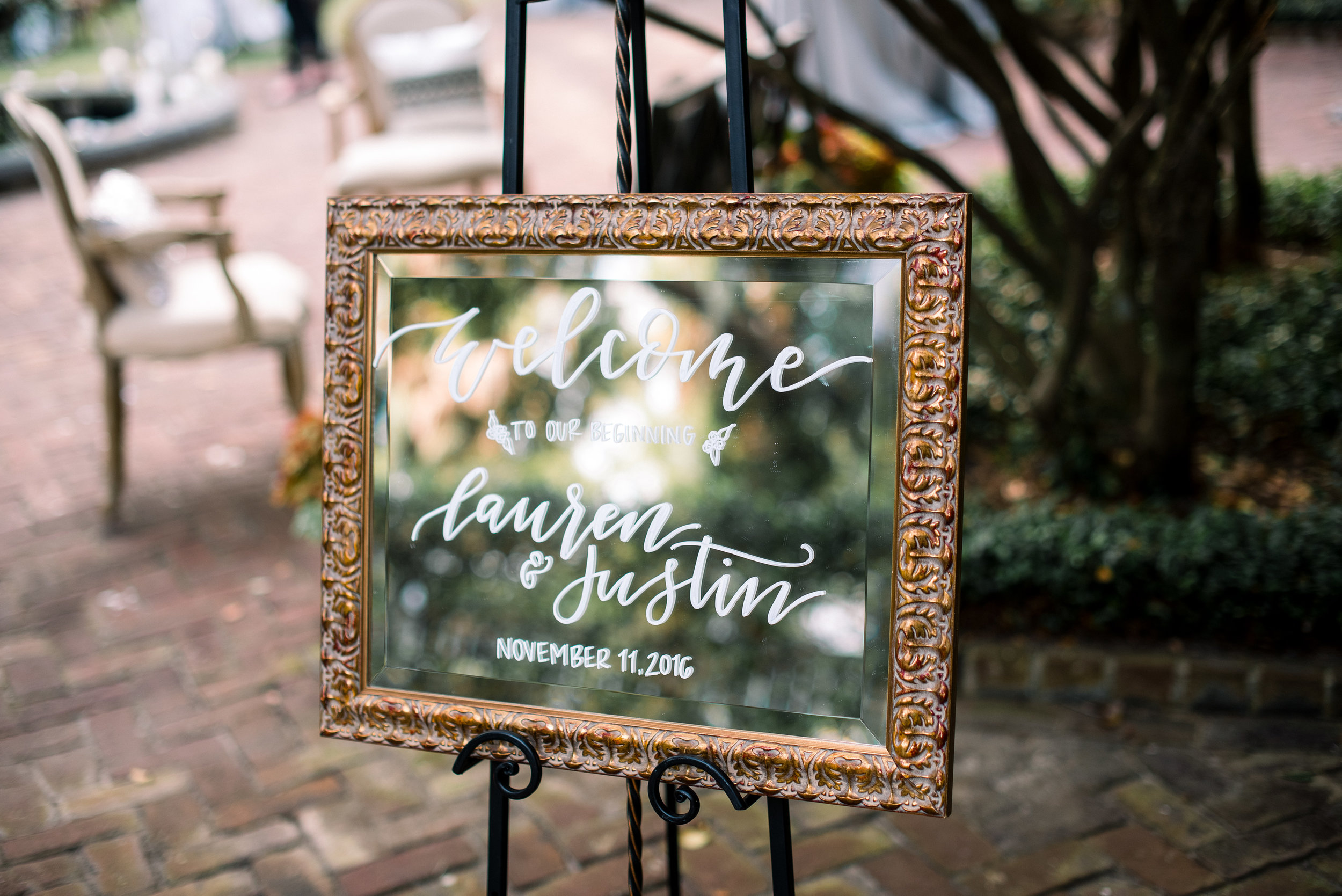 Hand-lettered mirror sign by J.Lily Design at Thomas Bennett House wedding  //  A Lowcountry Wedding Magazine & Blog