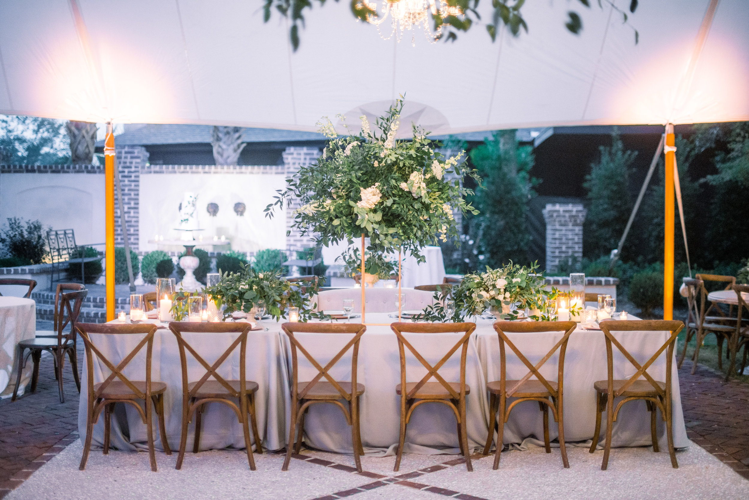 Tall greenery centerpieces by Stephanie Gibbs Events by TIMWILL  //  A Lowcountry Wedding Magazine & Blog