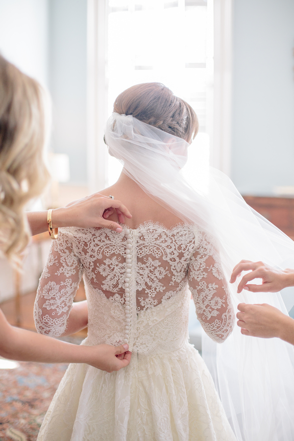 Off-the-shoulder lace Modern Trousseau gown   //  Charleston wedding photos by Riverland Studios  //  A Lowcountry Wedding Magazine & Blog