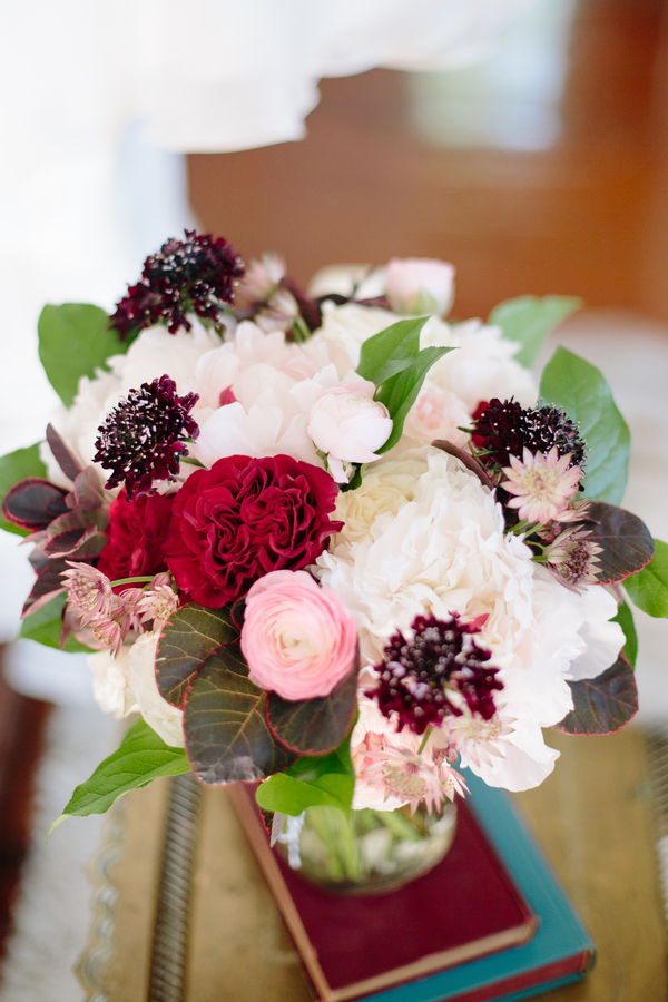 Fall bouquet by Branch Design Studio in shades of white, pink, deep red and purple   //  Charleston wedding photos by Riverland Studios  //  A Lowcountry Wedding Magazine & Blog