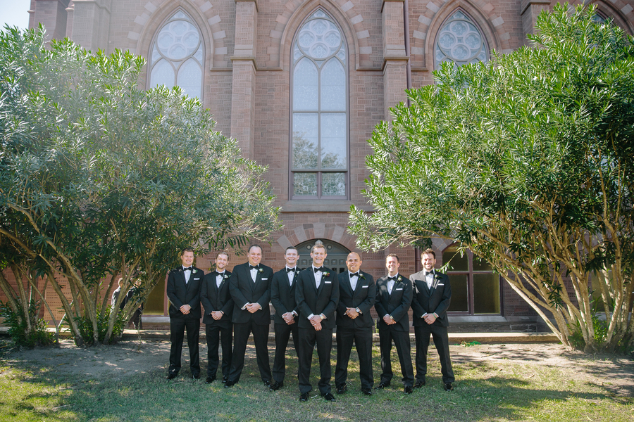 Groomsmen in black tuxedos at The Cathedral of St. John the Baptist   //  Charleston wedding photos by Riverland Studios  //  A Lowcountry Wedding Magazine & Blog
