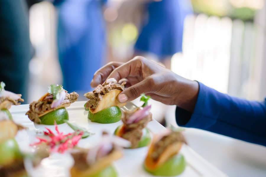 Miniature pork taco passed hors d'oeuvres by Cru Catering  Ceremony at Cathedral of St. John the Baptist   //  Charleston wedding photos by Riverland Studios  //  A Lowcountry Wedding Magazine & Blog