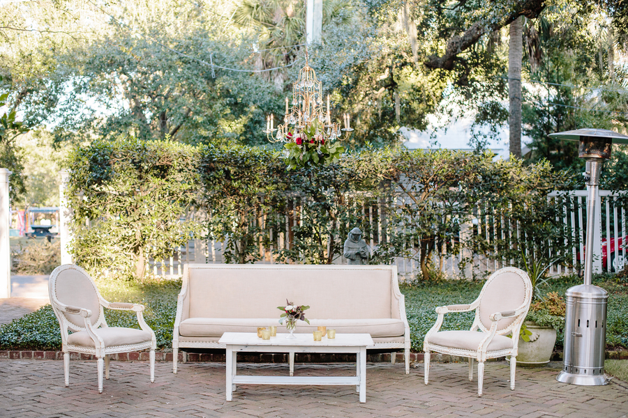 Vintage lounge furniture  Ceremony at Cathedral of St. John the Baptist   //  Charleston wedding photos by Riverland Studios  //  A Lowcountry Wedding Magazine & Blog