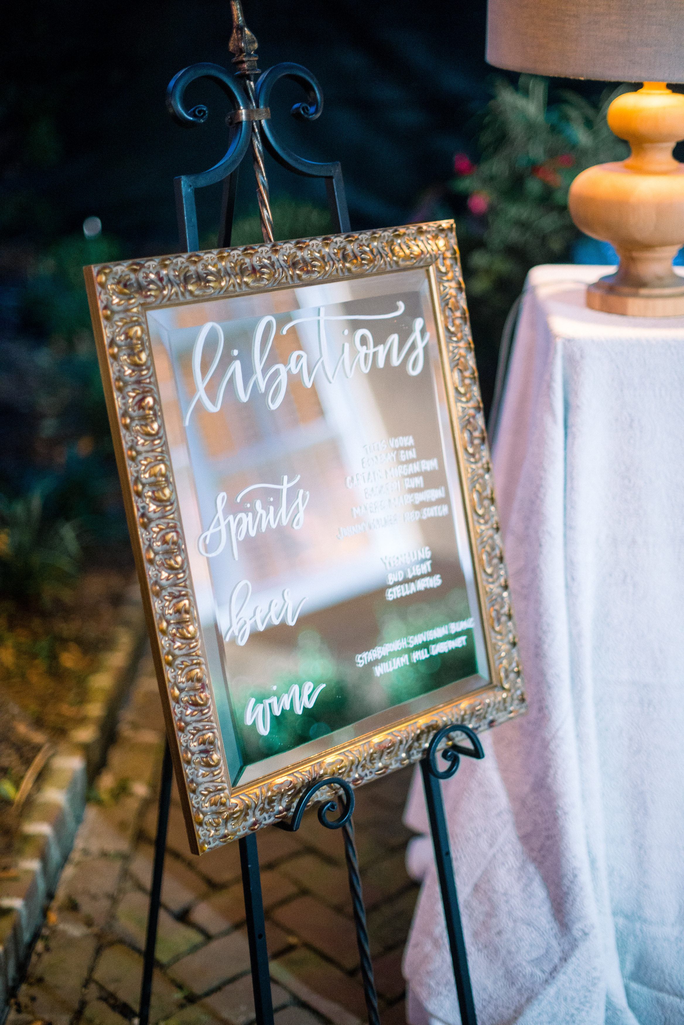 Hand-lettered drink menu by J.Lily Design at outdoor wedding reception in Charleston, SC  //  A Lowcountry Wedding Magazine & Blog