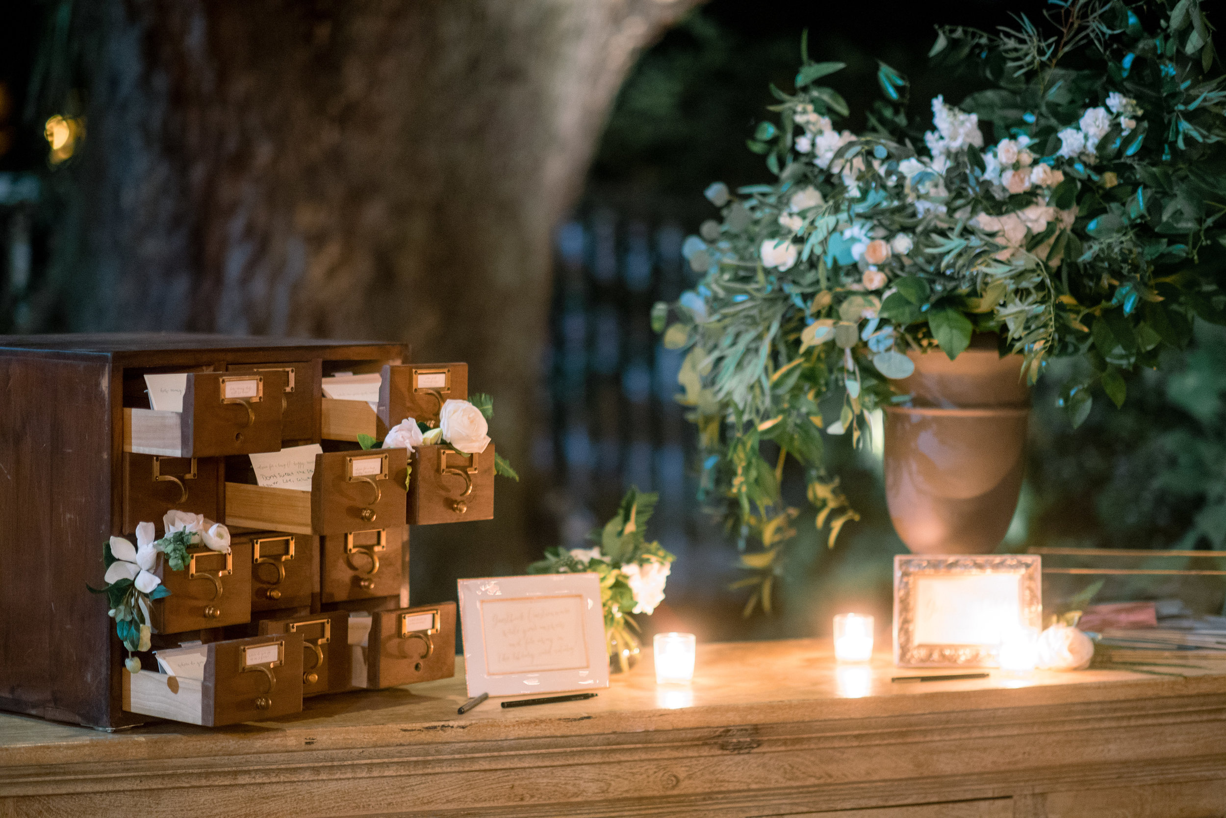 Vintage card catalog guestbook at outdoor Thomas Bennett House wedding reception //  A Lowcountry Wedding Magazine & Blog
