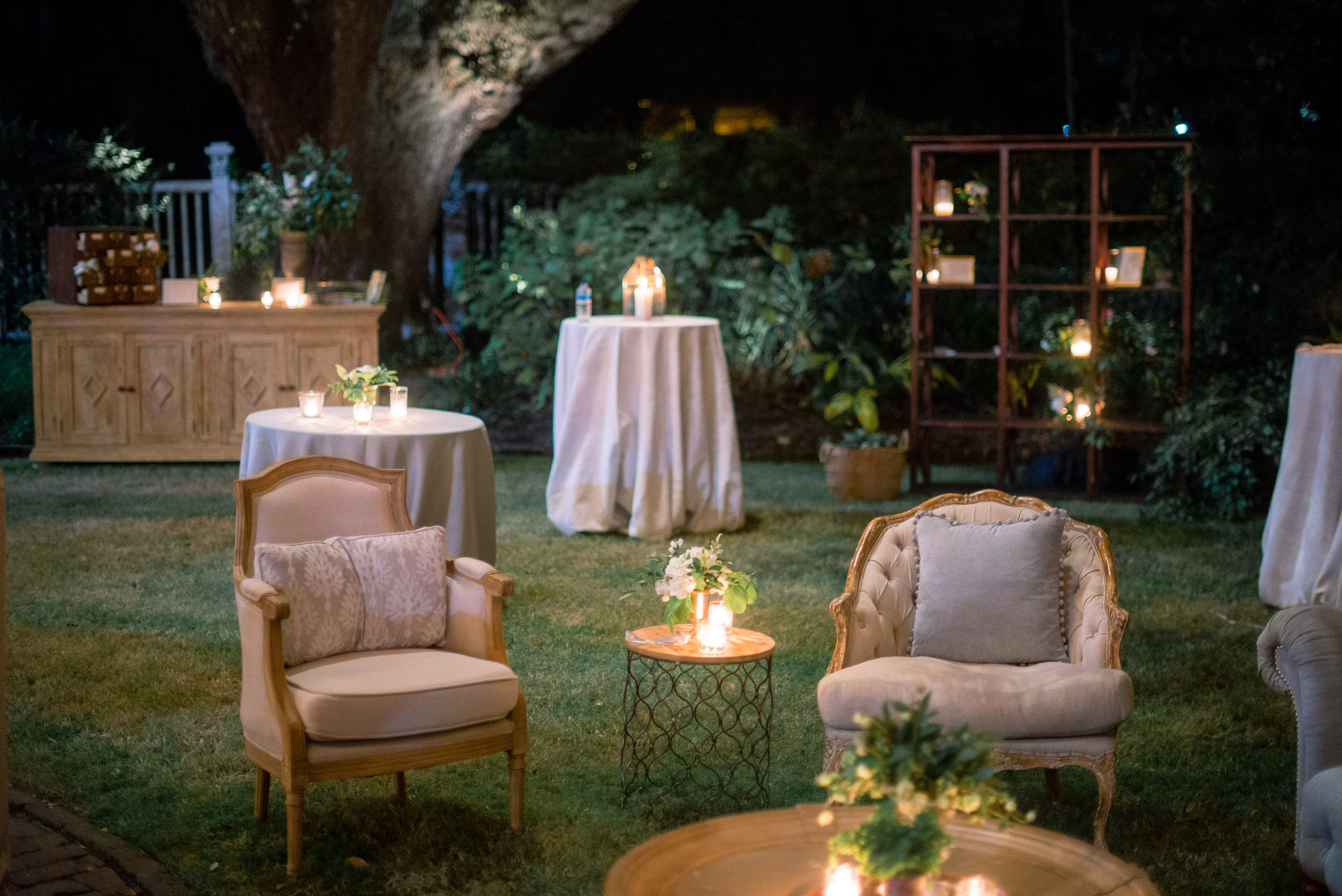 Vintage lounge furniture at evening Thomas Bennett House wedding   //  Event Planning & Design by A Charleston Bride  //  A Lowcountry Wedding Magazine & Blog