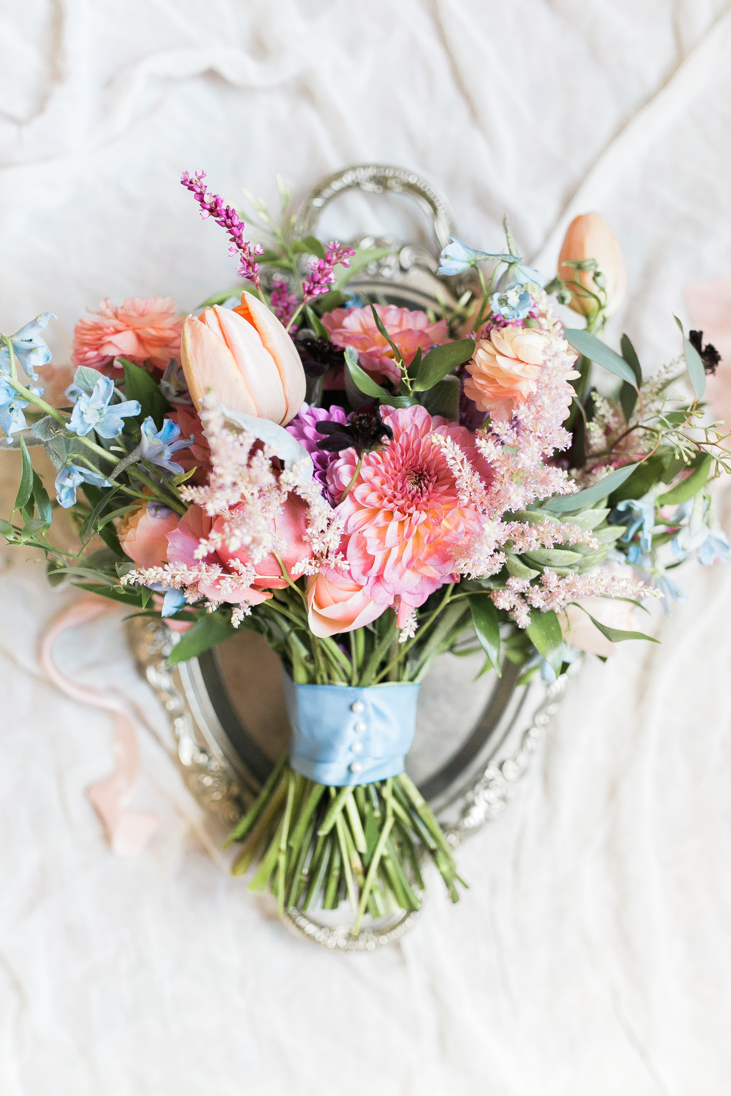 Colorful bouquet by Branch Design Studio for wedding at Thomas Bennett House  //  A Lowcountry Wedding Magazine & Blog