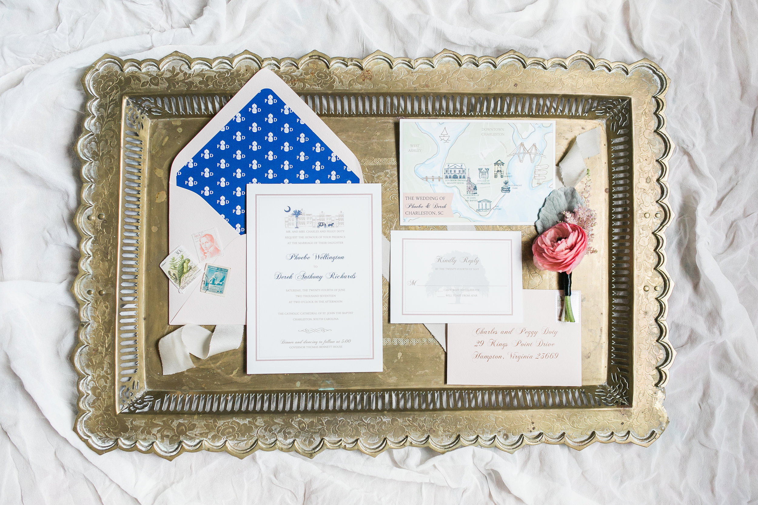 Blue and white palmetto logo invitations by Dodeline Design for Thomas Bennett House wedding  //  A Lowcountry Wedding Magazine & Blog