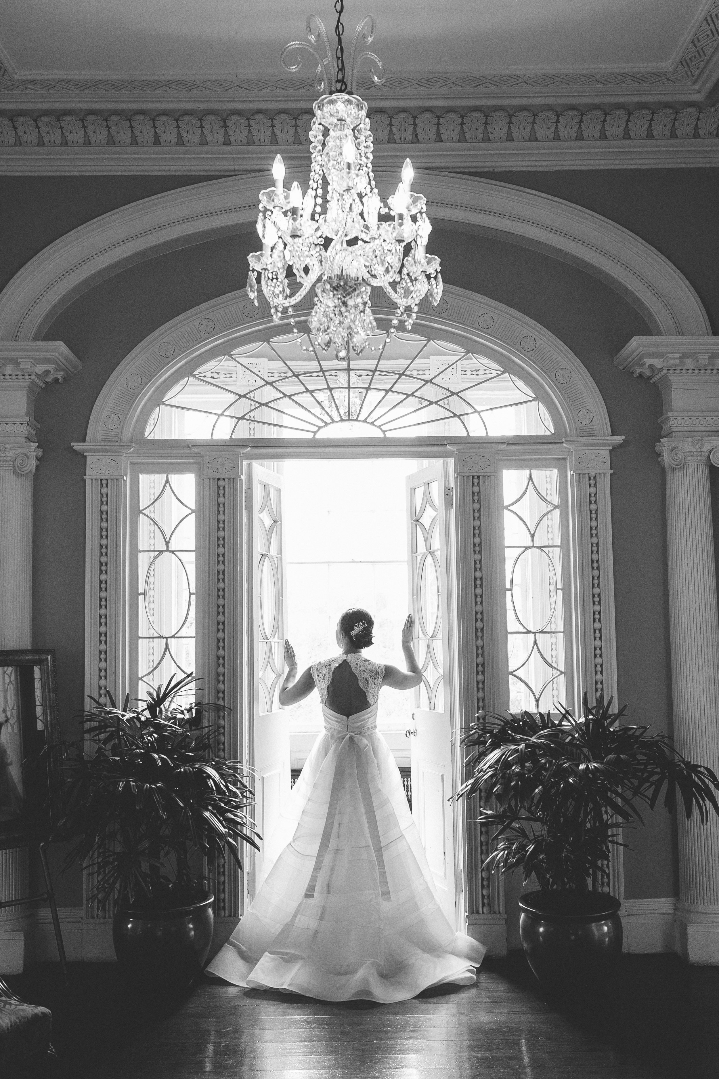 Charleston bride in a Hayley Paige gown at Thomas Bennett House - A Lowcountry Wedding Magazine