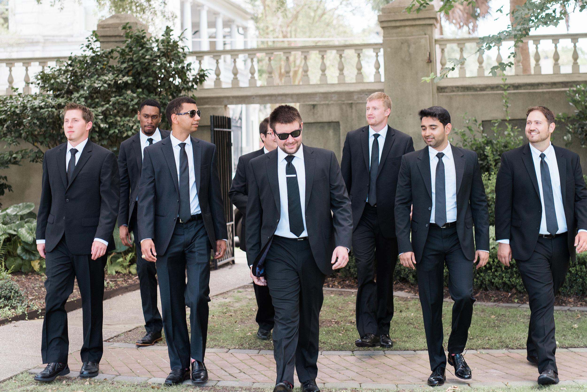Groomsmen in black tuxedos at Thomas Bennett House wedding in Charleston, SC  //  A Lowcountry Wedding Magazine & Blog