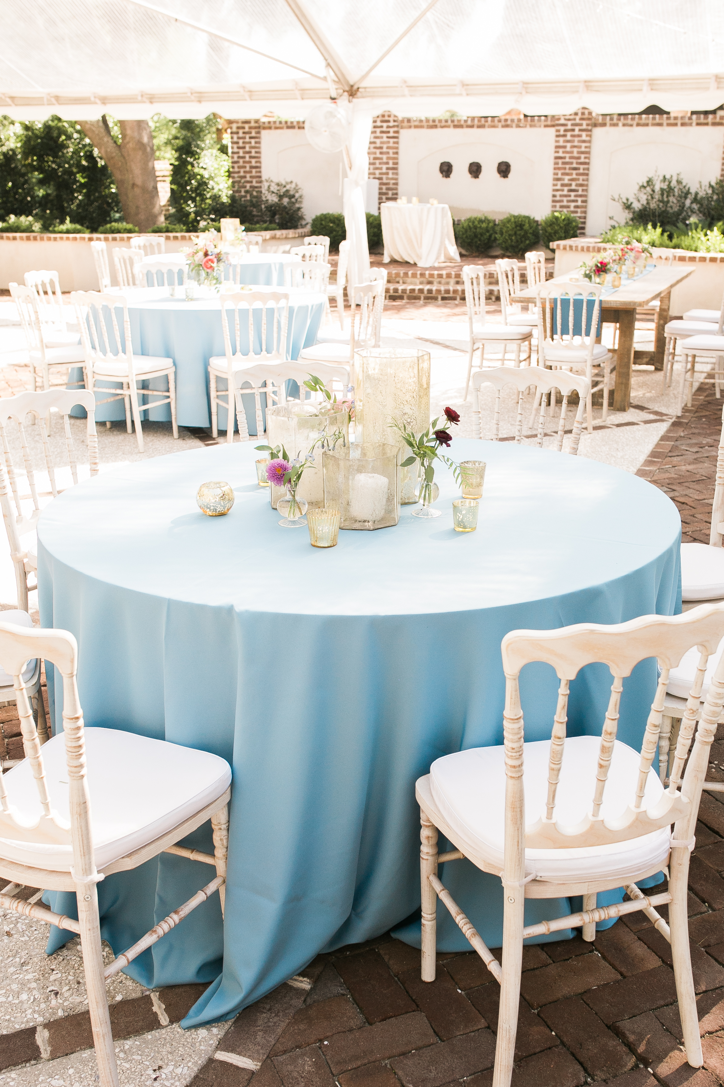 Outdoor reception light blue and white wedding in Charleston, SC Colorful outdoor reception at The Thomas Bennett House wedding in Charleston, SC  //  photographed by Jenna Weddings  Traditional wedding ceremony at Cathedral of St. John the Baptist in Charleston, SC  //  A Lowcountry Wedding Magazine & Blog
