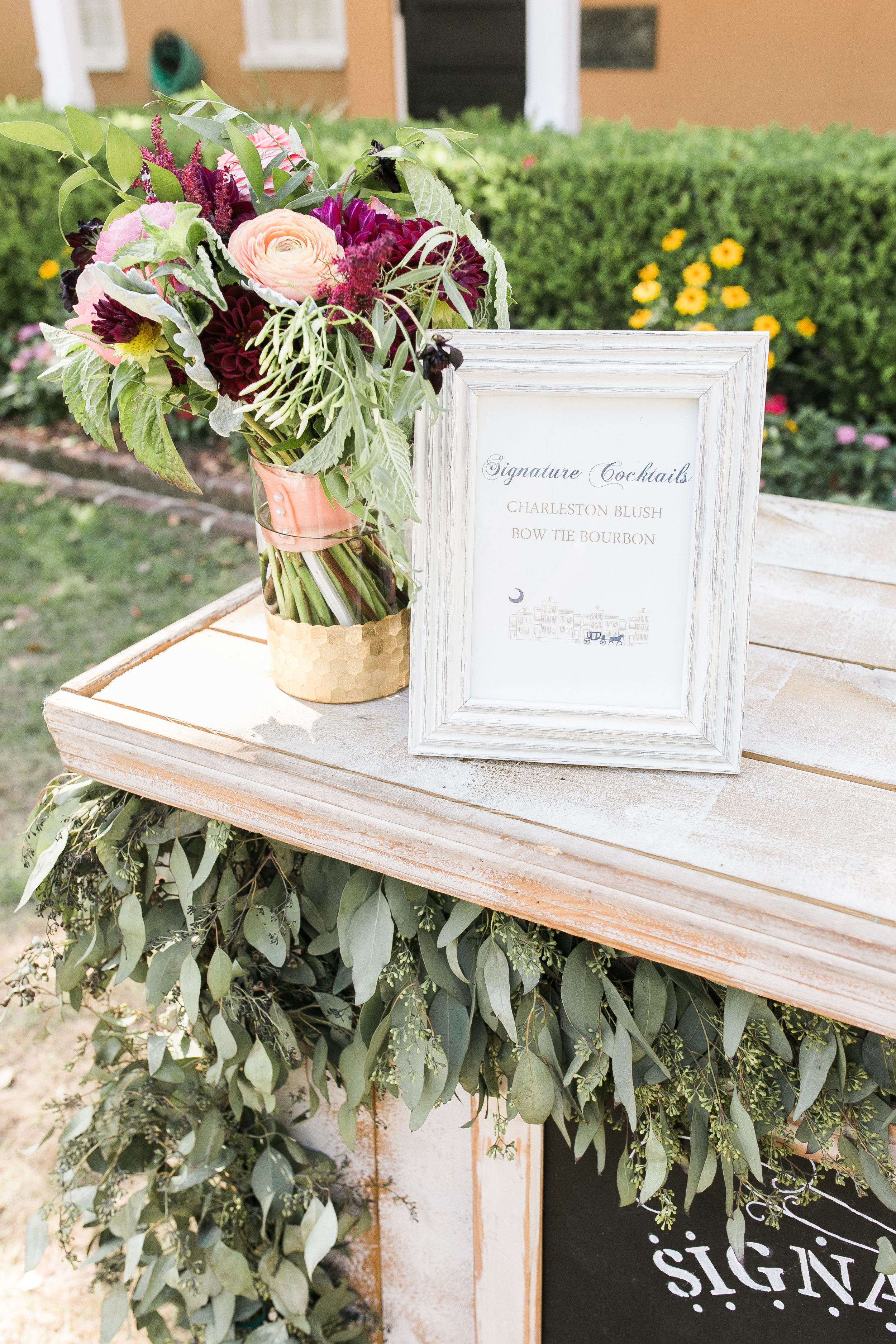 Custom bar menu by Dodeline Design for wedding at The Thomas Bennett House  Colorful outdoor reception at The Thomas Bennett House wedding in Charleston, SC  //  photographed by Jenna Weddings  Traditional wedding ceremony at Cathedral of St. John the Baptist in Charleston, SC  //  A Lowcountry Wedding Magazine & Blog