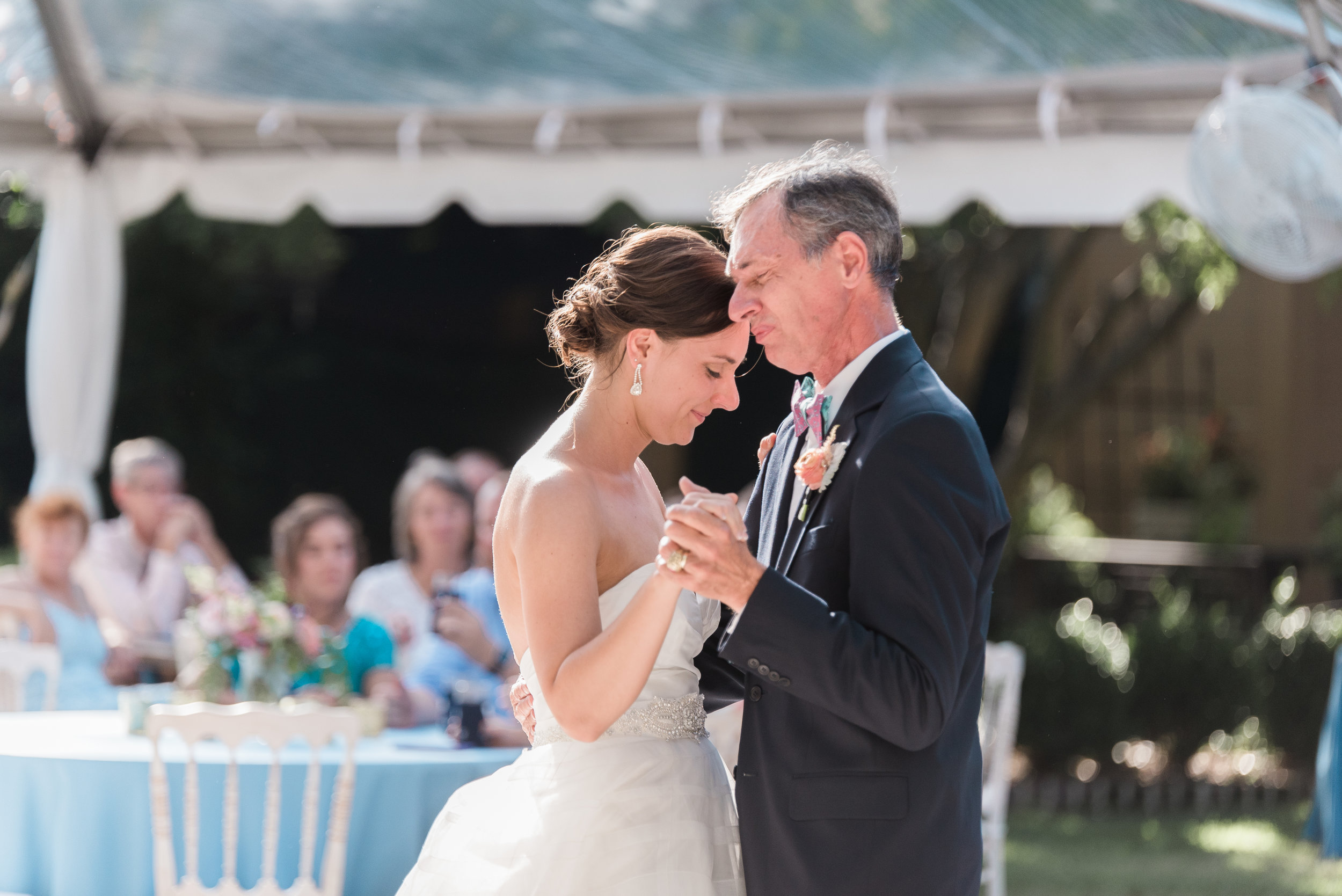 Father daughter first wedding dance played by Darby Events at The Thomas Bennett House  Colorful outdoor reception at The Thomas Bennett House wedding in Charleston, SC  //  photographed by Jenna Weddings  Traditional wedding ceremony at Cathedral of St. John the Baptist in Charleston, SC  //  A Lowcountry Wedding Magazine & Blog