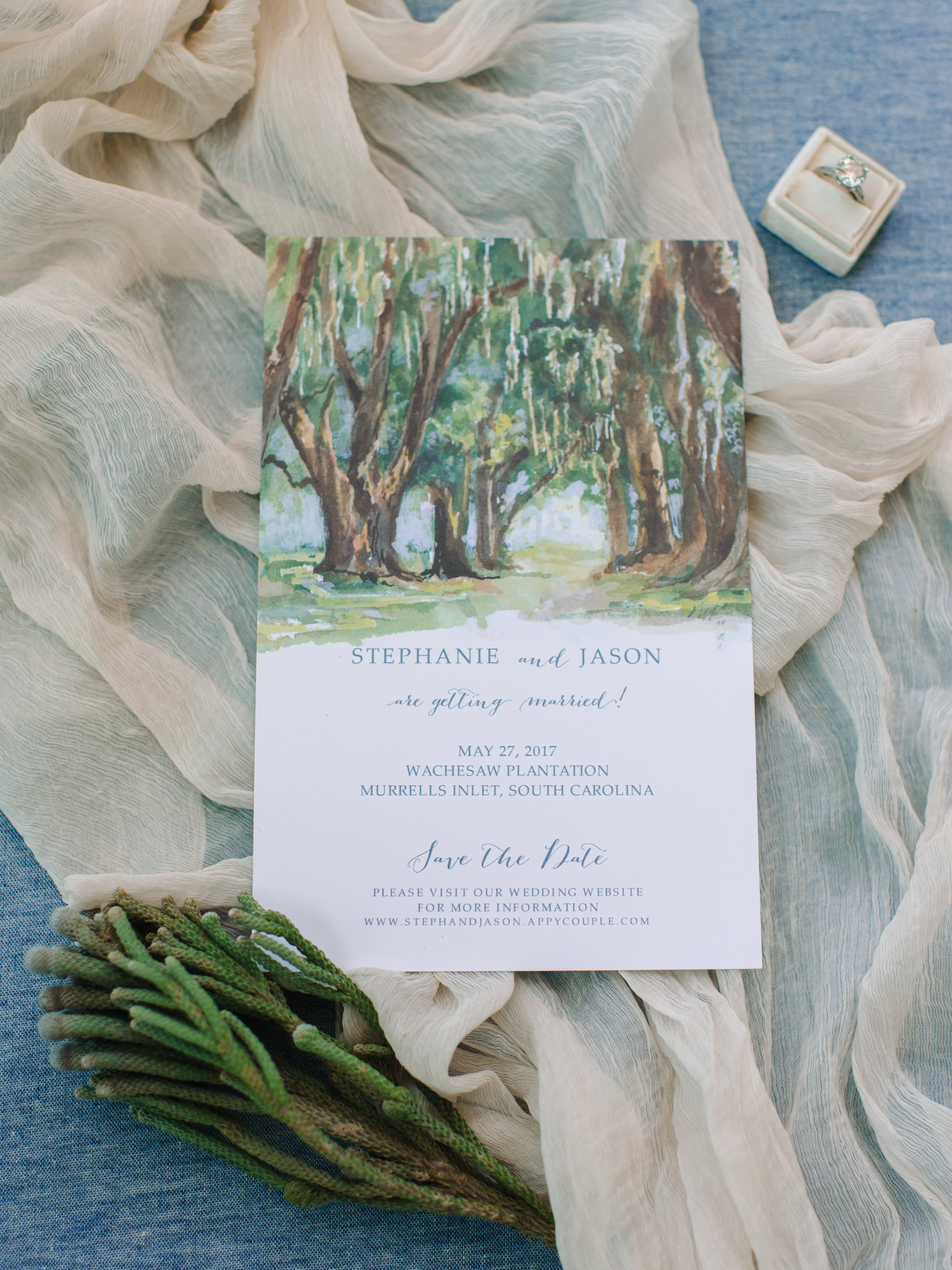 Coastal invitations by RSVP Shoppe for Wachesaw Plantation wedding in Murrells Inlet, SC  //  A Lowcountry Wedding Magazine