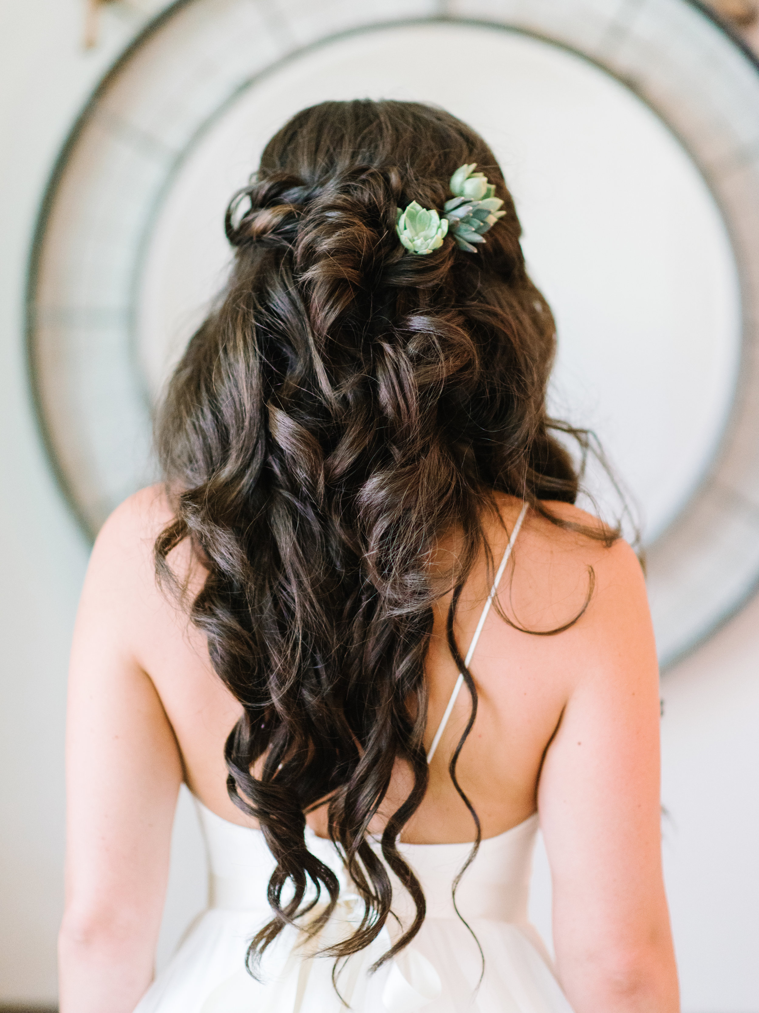 Myrtle Beach bride's half-up hairstyle by PaperDolls Wedding Hair & Makeup  //  A Lowcountry Wedding Magazine & Blog