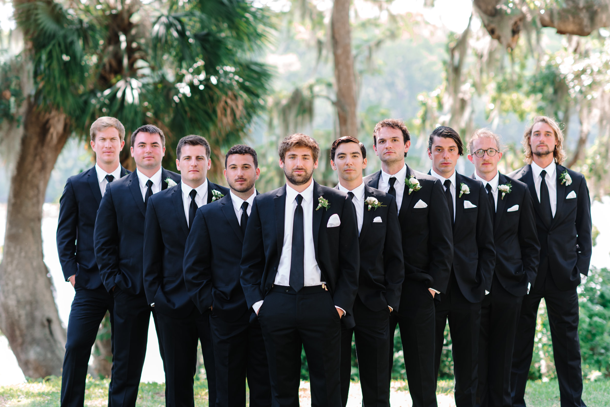 Groomsmen in black tuxedos for wedding portraits at Wachesaw Plantation  //  A Lowcountry Wedding Magazine & Blog