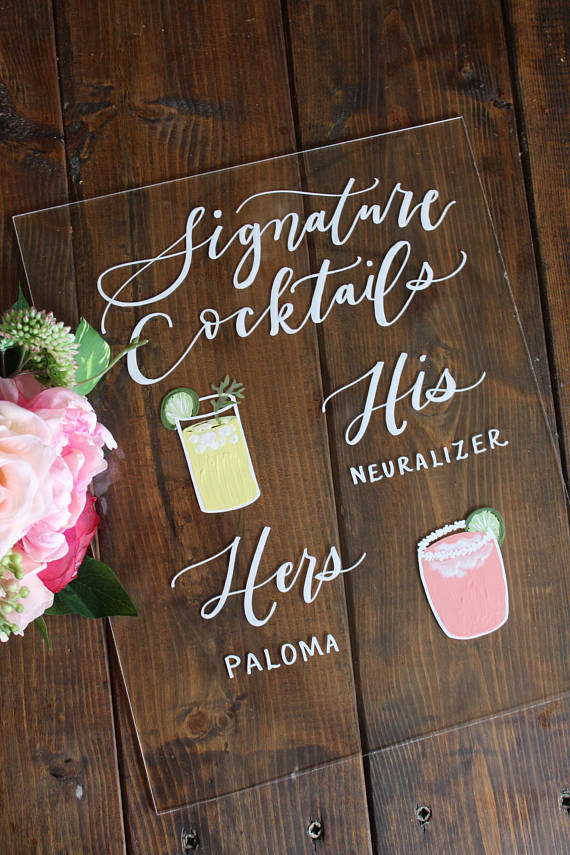 His & hers signature cocktail signs