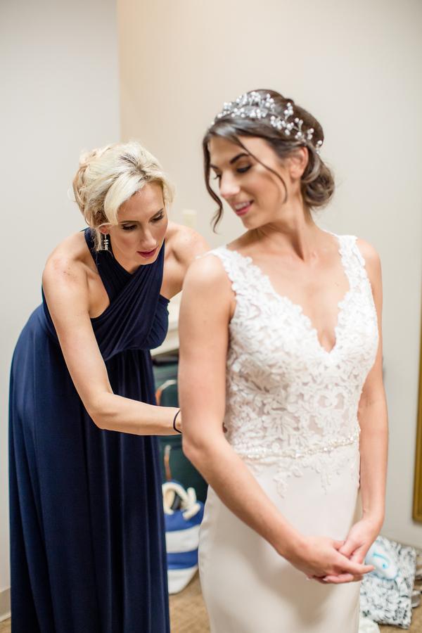 Charleston bride wearing lace wedding dress for wedding at Harborside East  //  A Lowcountry Wedding Magazine & Blog