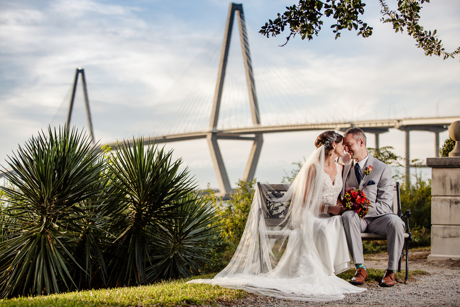 Charleston wedding portraits in front of the Ravenel Bridge by Richard Bell Photography  //  A Lowcountry Wedding Magazine & Blog