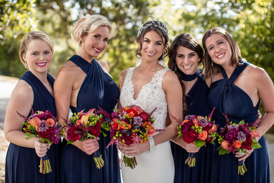 Bridesmaids in long navy dresses at Harborside East   //  A Lowcountry Wedding Magazine & Blog