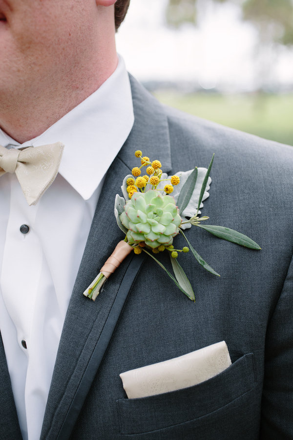 Succulent boutonneire by Branch Design Studio for Charleston SC wedding   // photos by Riverland Studios  //  A Lowcountry Wedding Magazine