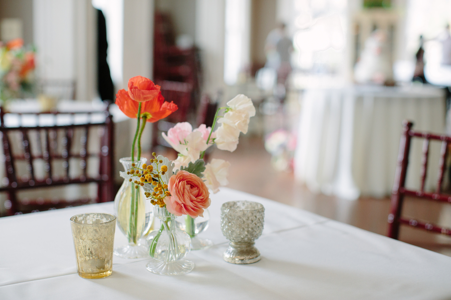 Spring poppy centerpieces by Branch Design Studio at The Wickliffe House   //  Charleston wedding photography by Riverland Studios  //  A Lowcountry Wedding Magazine
