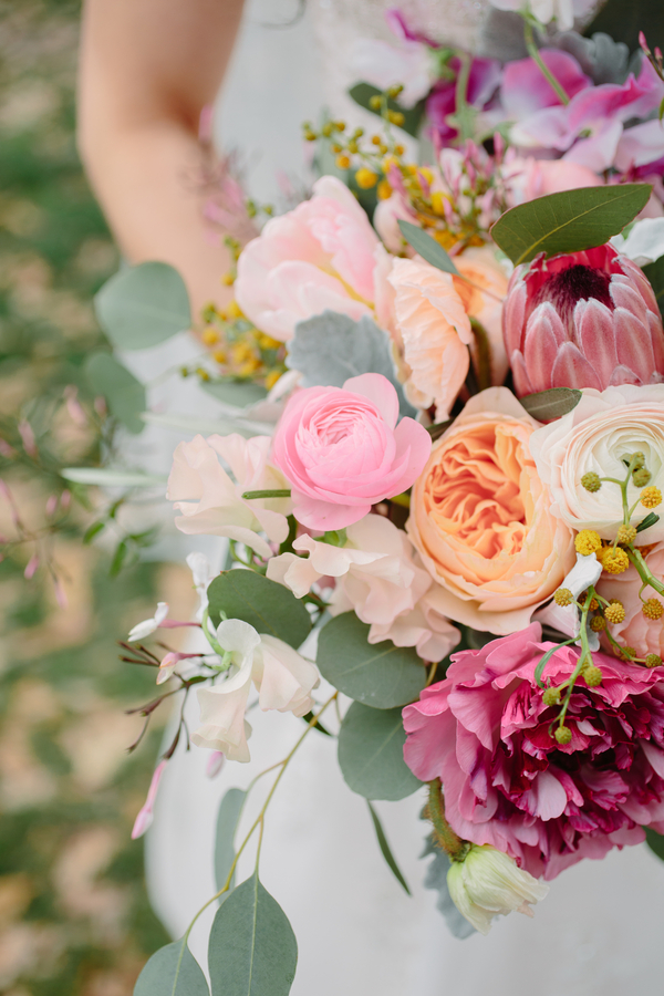 Spring bouquet of garden roses, tulips and ranunculus by Branch Design Studio for Charleston SC wedding at The Wickliffe House