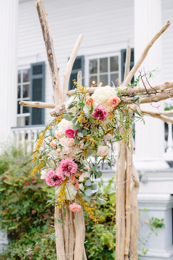 Natural chuppah for outdoor ceremony at The Wickliffe House  by Branch Design Studio   // photos by Riverland Studios  //  A Lowcountry Wedding Magazine
