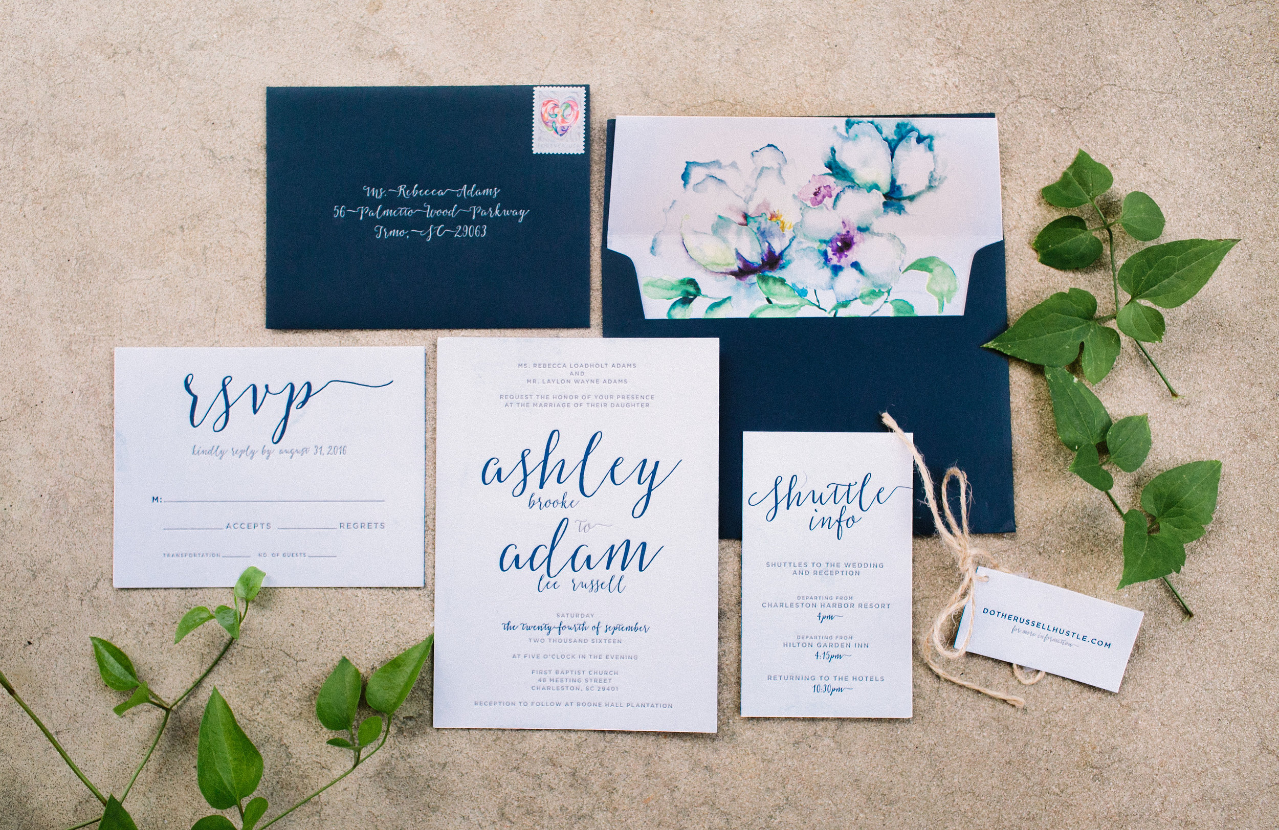 Blue watercolor invitations for Charleston SC wedding  //  Wedding photography by Landon Jacob  //  A Lowcountry Wedding Magazine