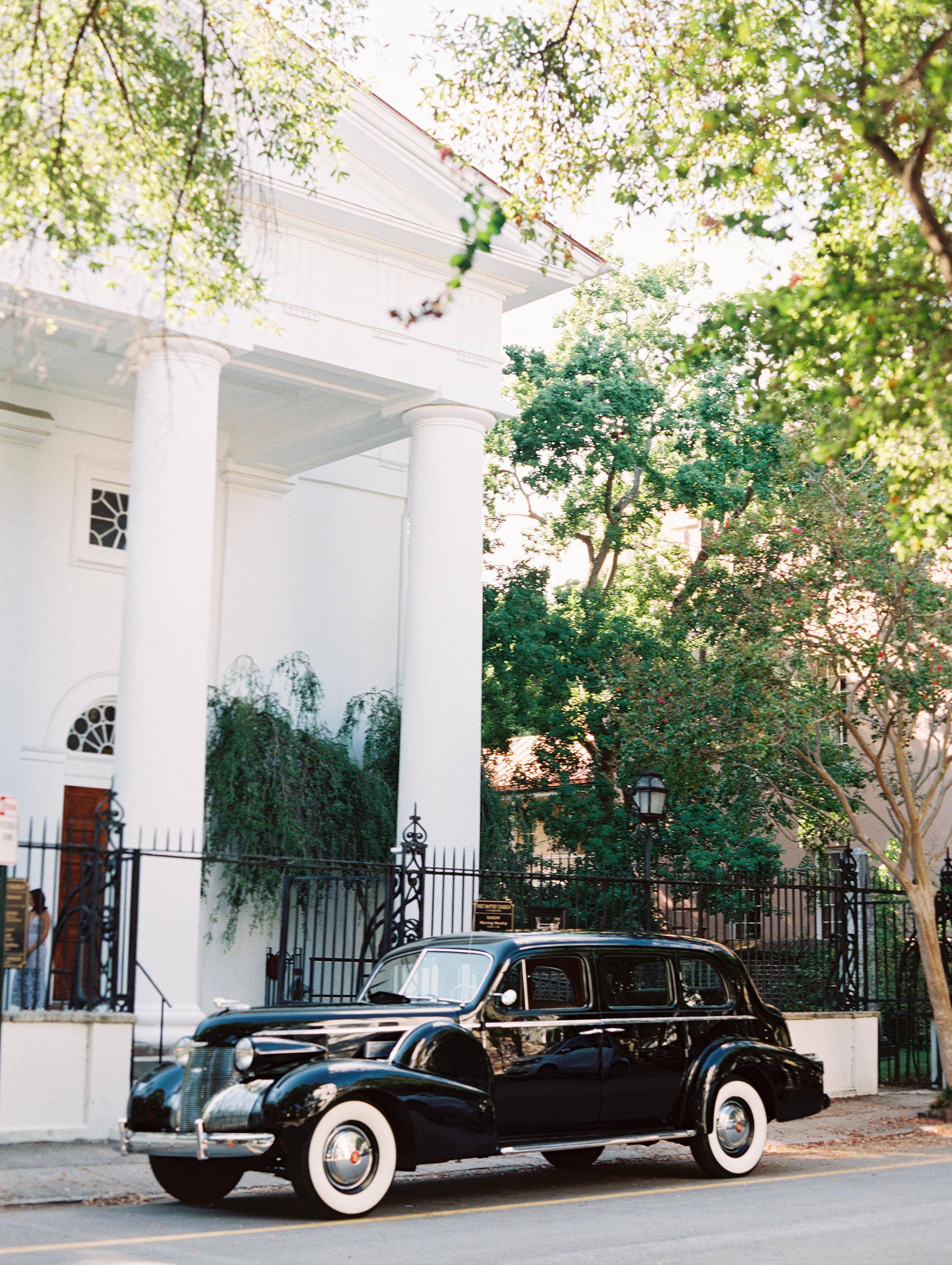 Black vintage Rolls Royce at Charleston wedding ceremony  //  Wedding photography by Landon Jacob  //  A Lowcountry Wedding Magazine