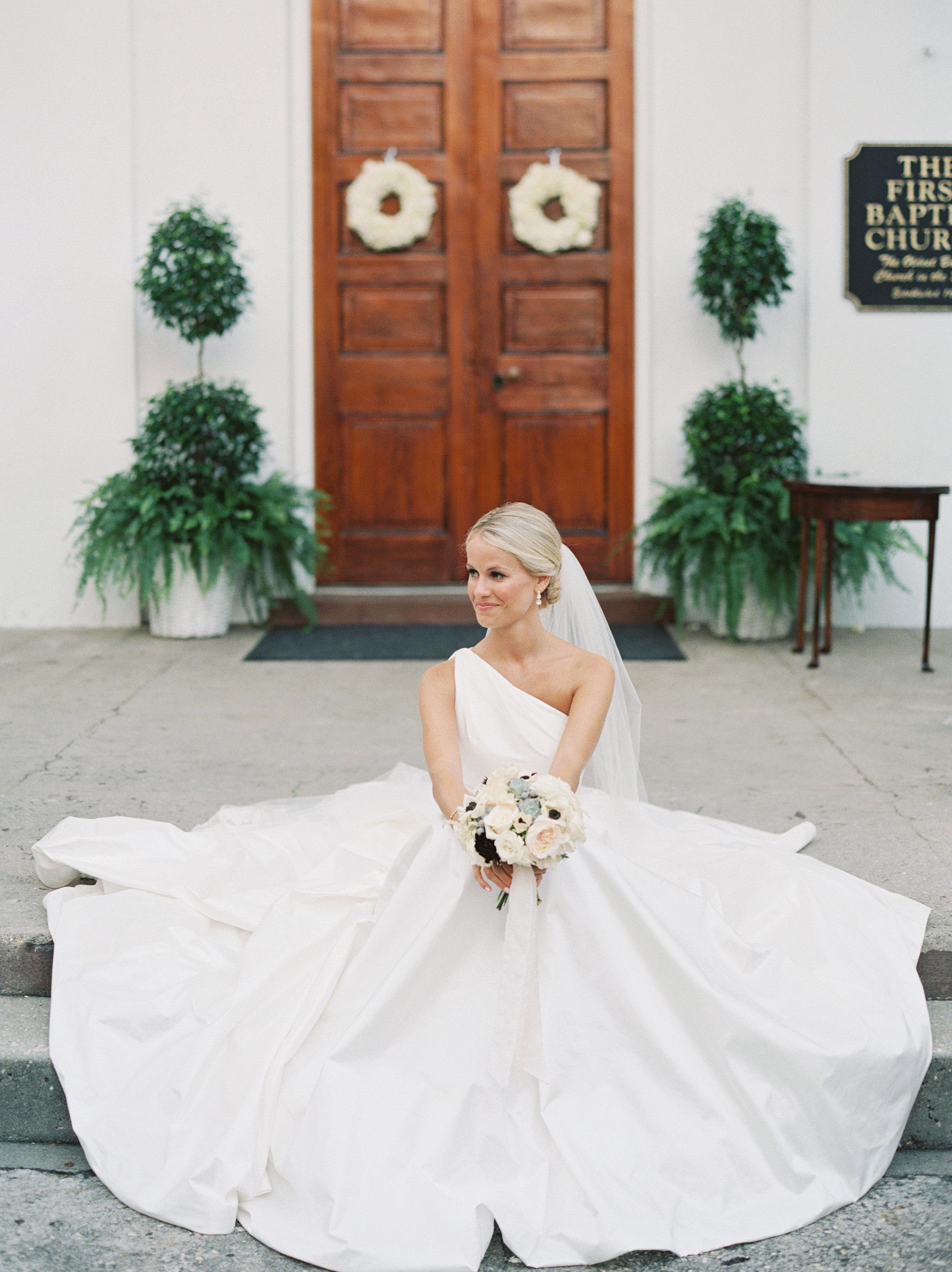 Charleston bride in Romona Keveza wedding gown from Maddison Row  //  Wedding photography by Landon Jacob  //  A Lowcountry Wedding Magazine