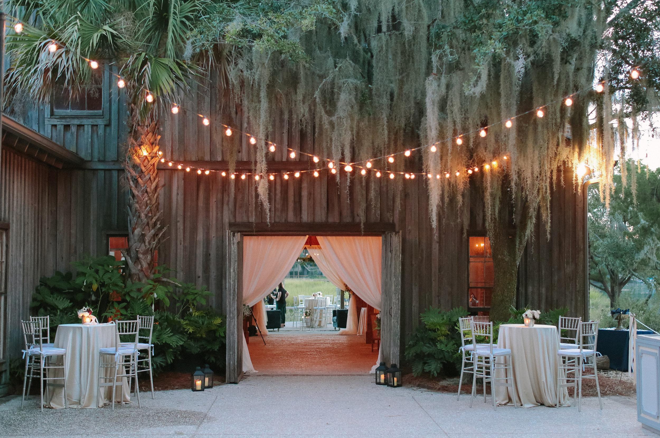 Boone Hall Plantation wedding reception at The Cotton Dock by Landon Jacob