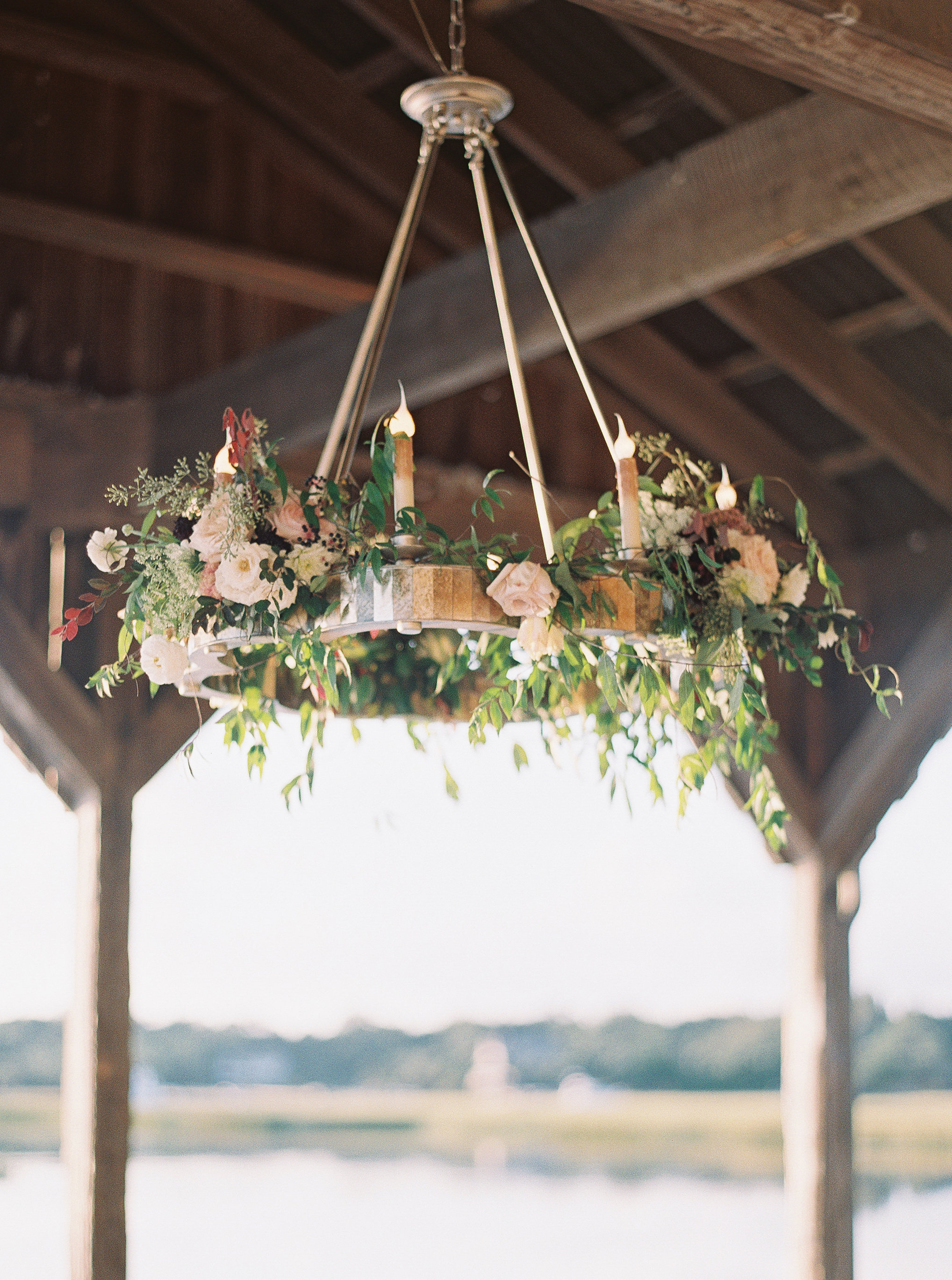 Floral chandelier at Boone Hall Plantation  //  Wedding photography by Landon Jacob  //  A Lowcountry Wedding Magazine