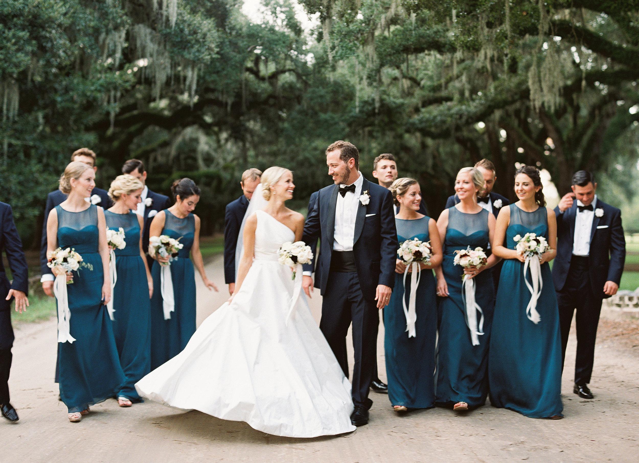 Boone Hall Plantation wedding portraits Fall wedding reception decor with blue accents at Boone Hall Plantation  //  Wedding photography by Landon Jacob  //  A Lowcountry Wedding Magazine