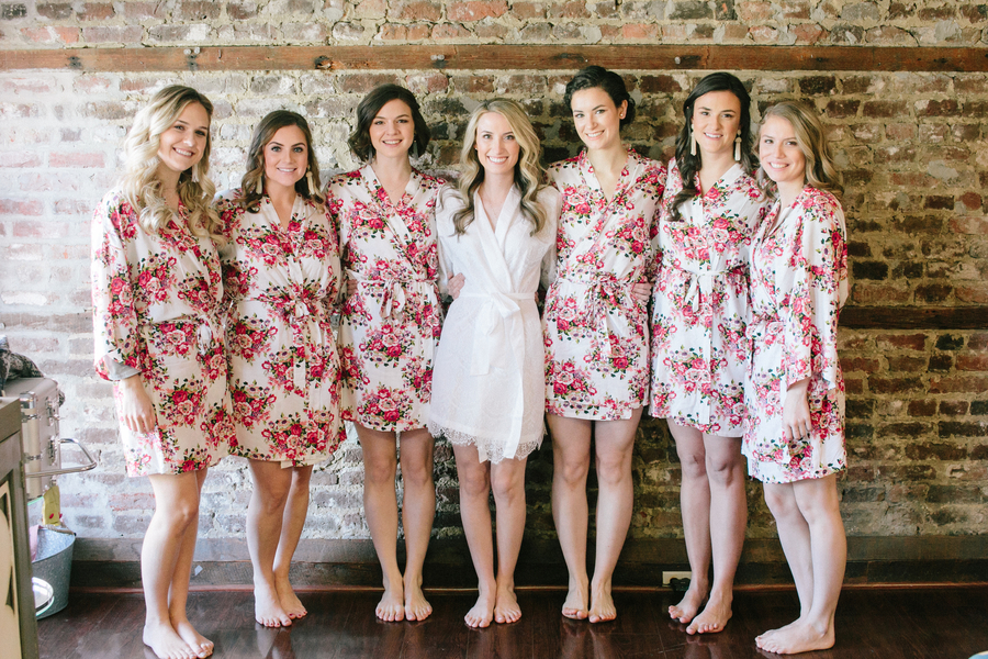 Bridesmaids in floral robes at Charleston SC wedding  //  A Lowcountry Wedding Magazine
