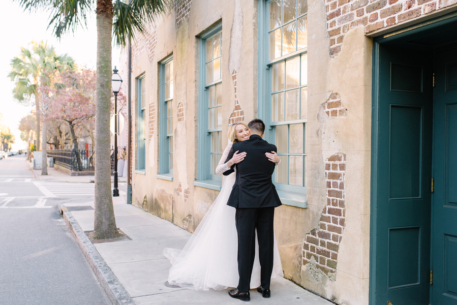 Bride and groom first look in Downtown Charleston SC  //  A Lowcountry Wedding Magazine