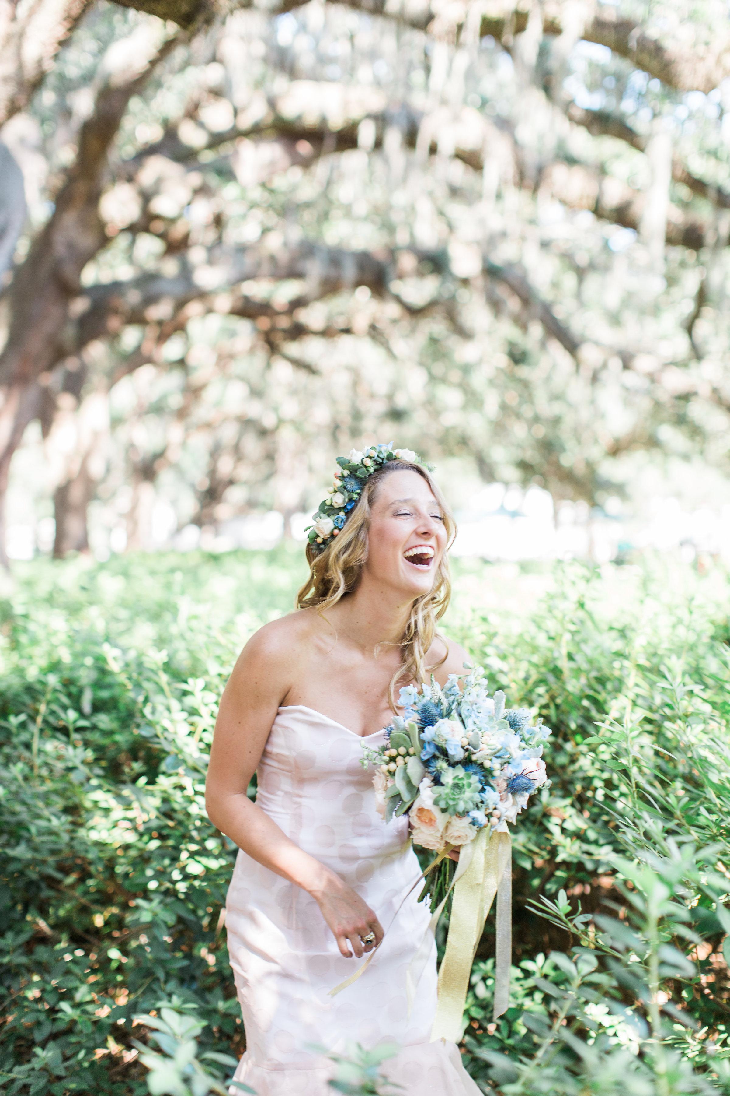 Bride wearing a Jacklynn Bridal gown from Ivory + Beau for wedding in Savannah GA