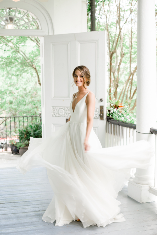 Charleston bride in a Leanne Marshall gown at The Thomas Bennett House  //  Wedding photography by JoPhoto  //  A Lowcountry Wedding Magazine