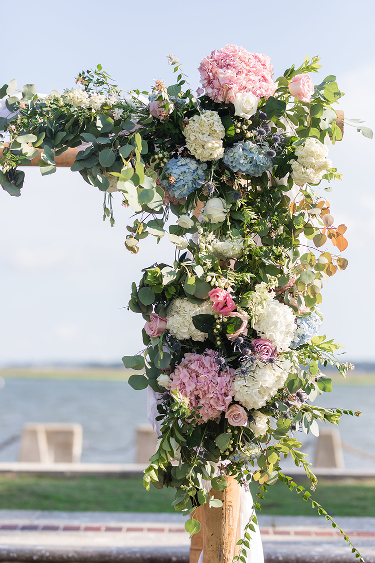 Floral ceremony arbor for outdoor wedding at Henry C. Chambers Waterfront Park in Beaufort, SC  //  Hilton Head florist Urban Poppy