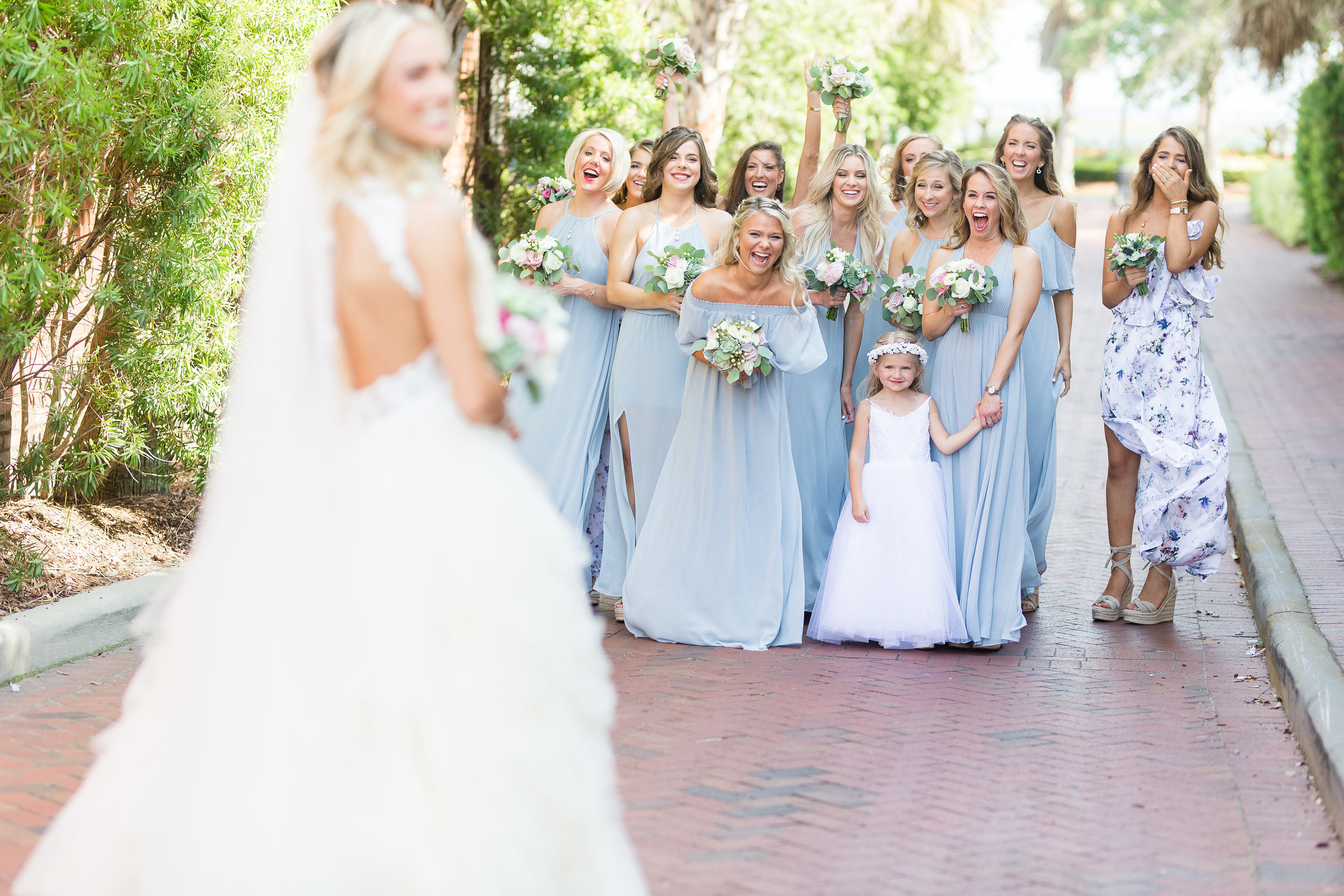 Bridesmaids first look in long blue Show Me Your Mumu dresses  //  A Lowcountry Wedding Magazine