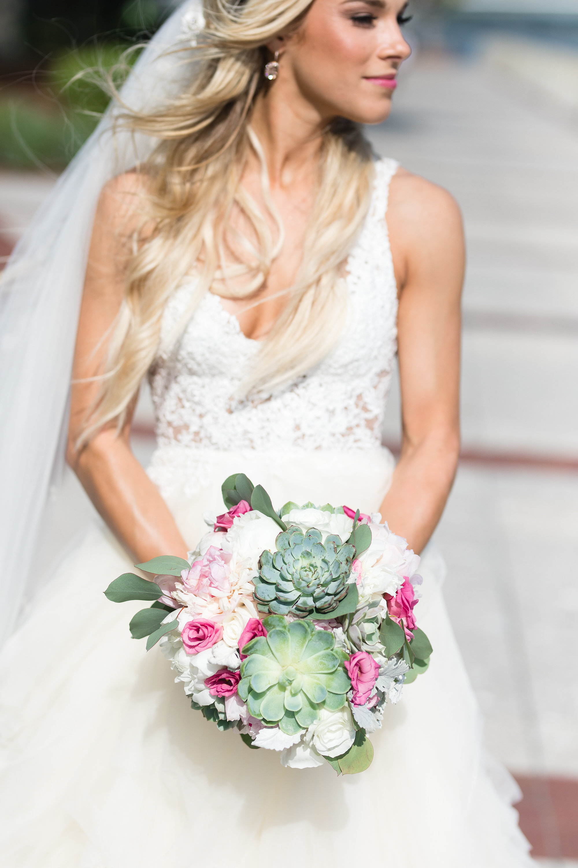 Succulent and peony bouquet for Beaufort SC wedding  //  HIlton Head florist Urban Poppy