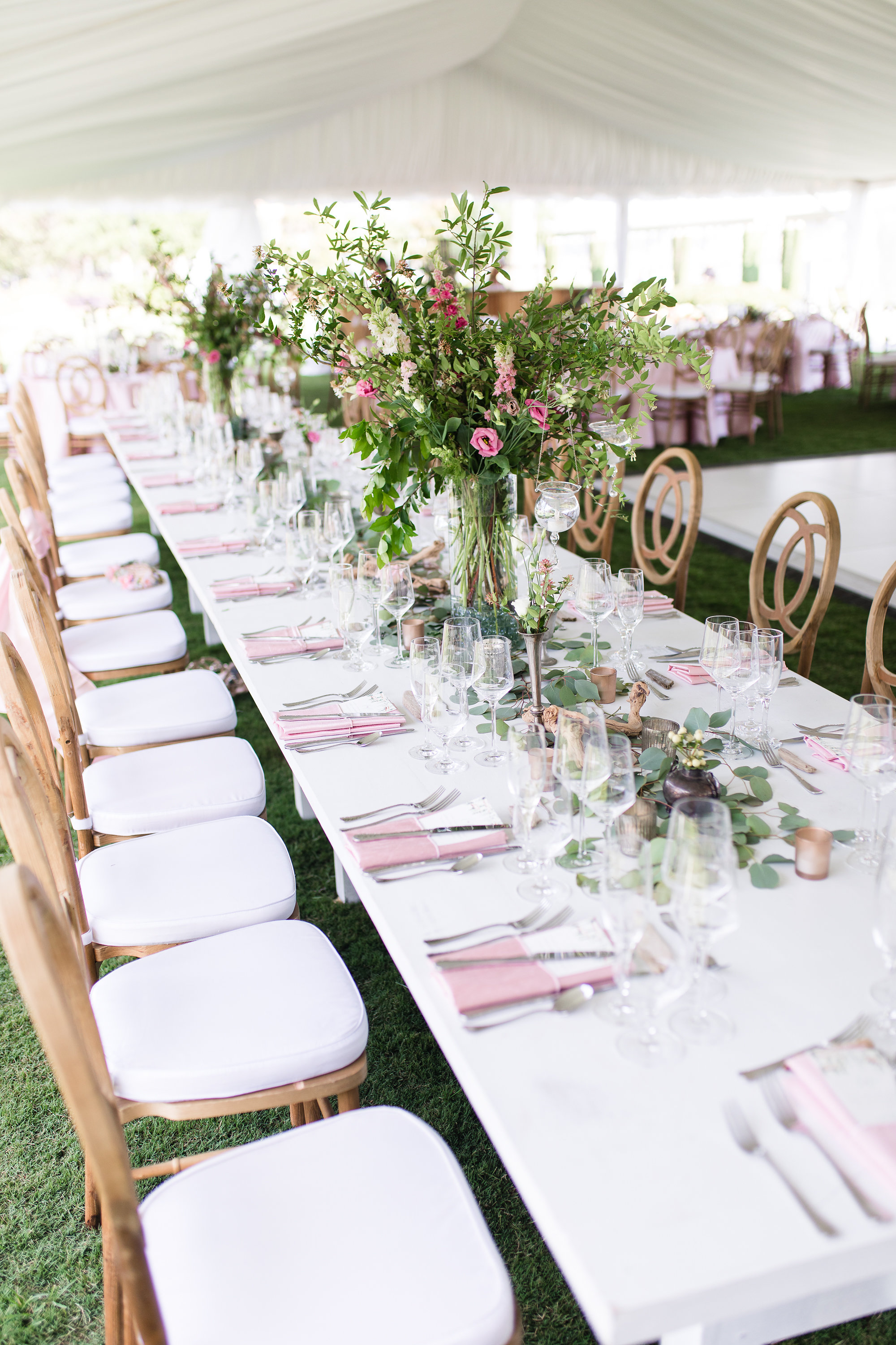Tall greenery arrangements with pink blooms for wedding at Henry C. Chambers Waterfront Park  //  Hilton Head florist Urban Poppy  //  A Lowcountry Wedding Magazine