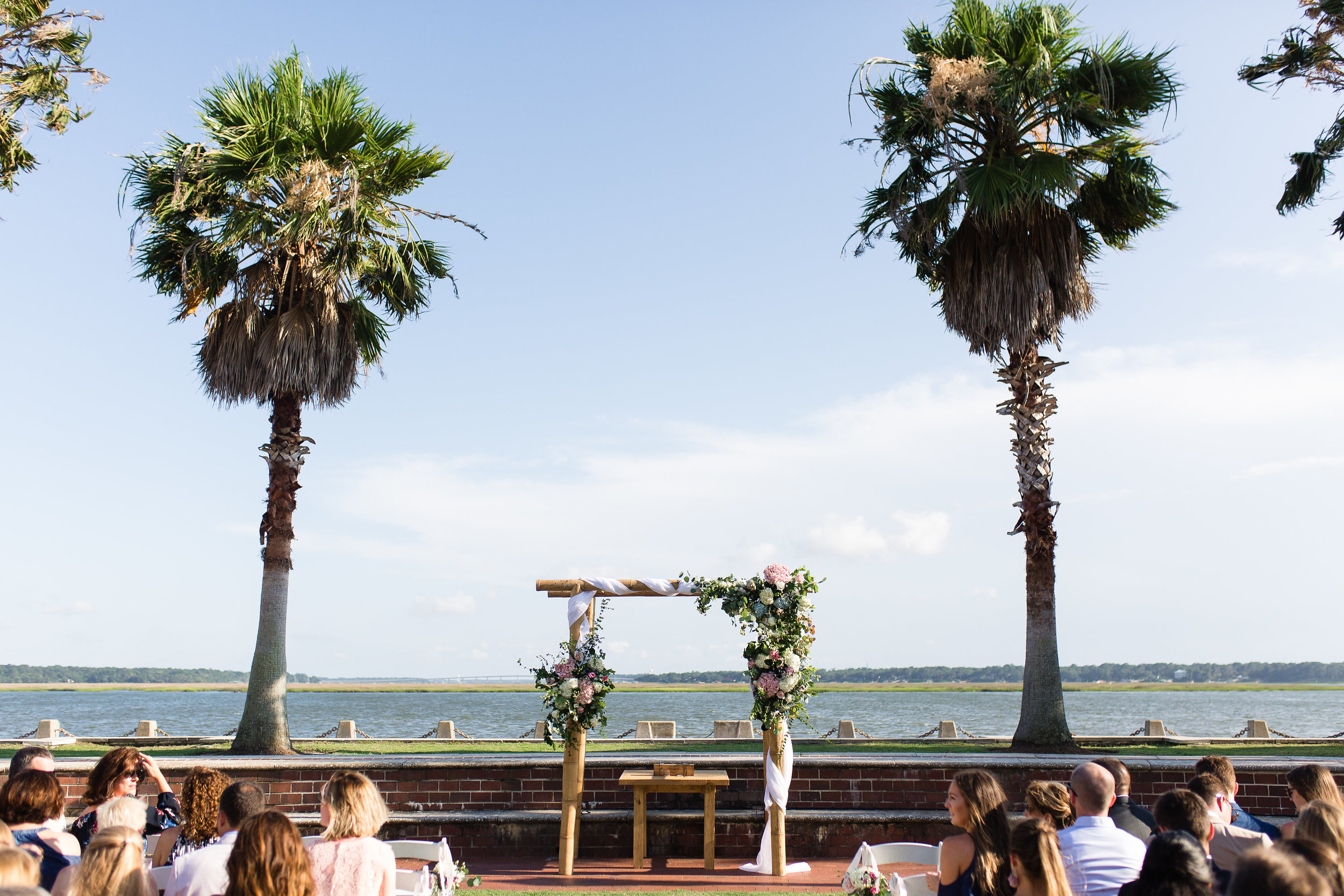 Outdoor wedding ceremony at Henry C. Chambers Waterfront Park in Beaufort, SC  //  A Lowcountry Wedding Magazine