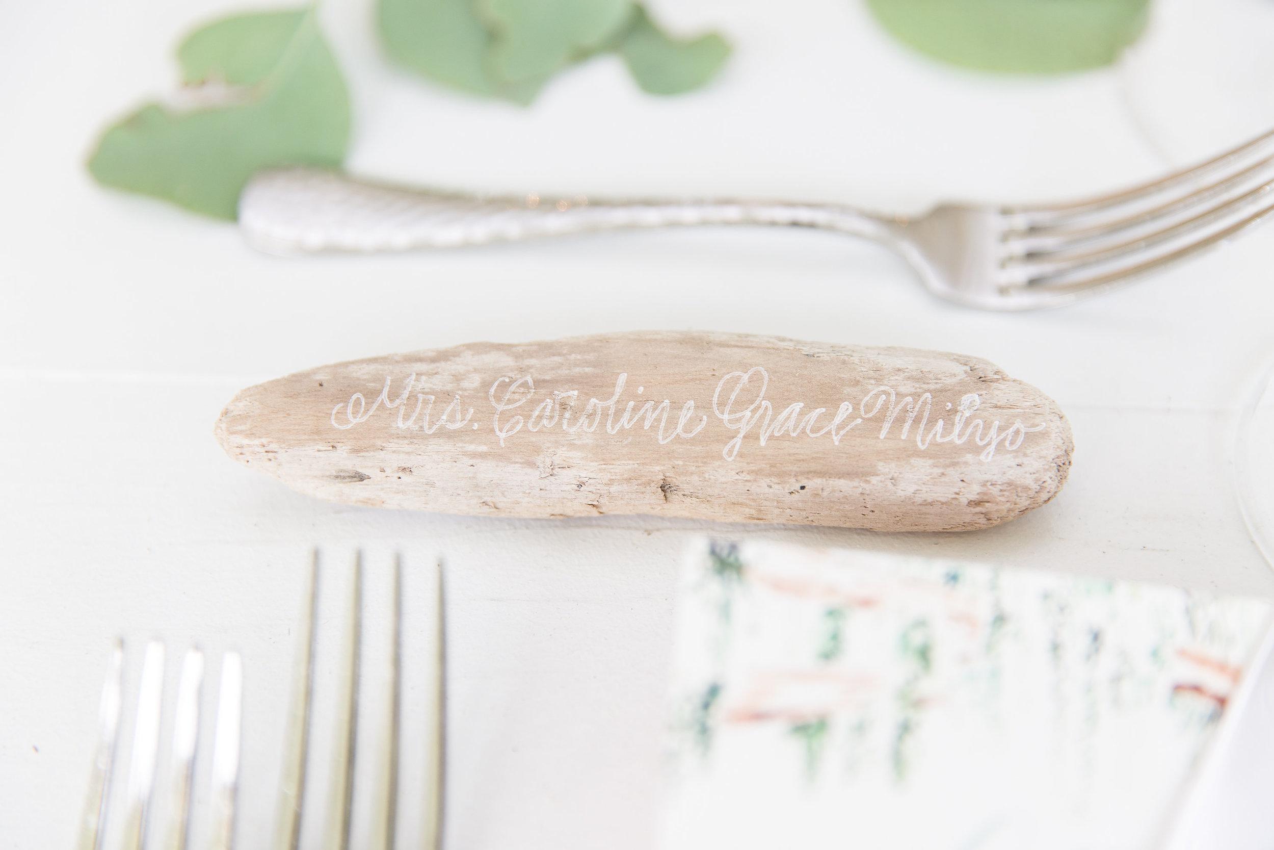 Driftwood escort cards for wedding at Beaufort SC  //  Hilton Head florist Urban Poppy  //  A Lowcountry Wedding Magazine